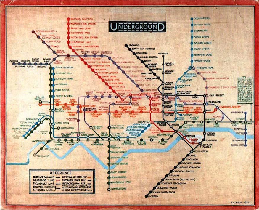Beck's Tube Map, 1931