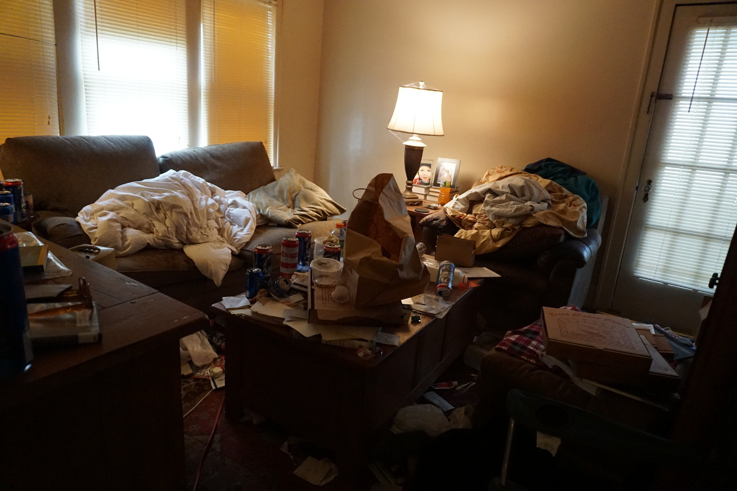 Before starting, the living room had to be cleared of any trash, or debris.