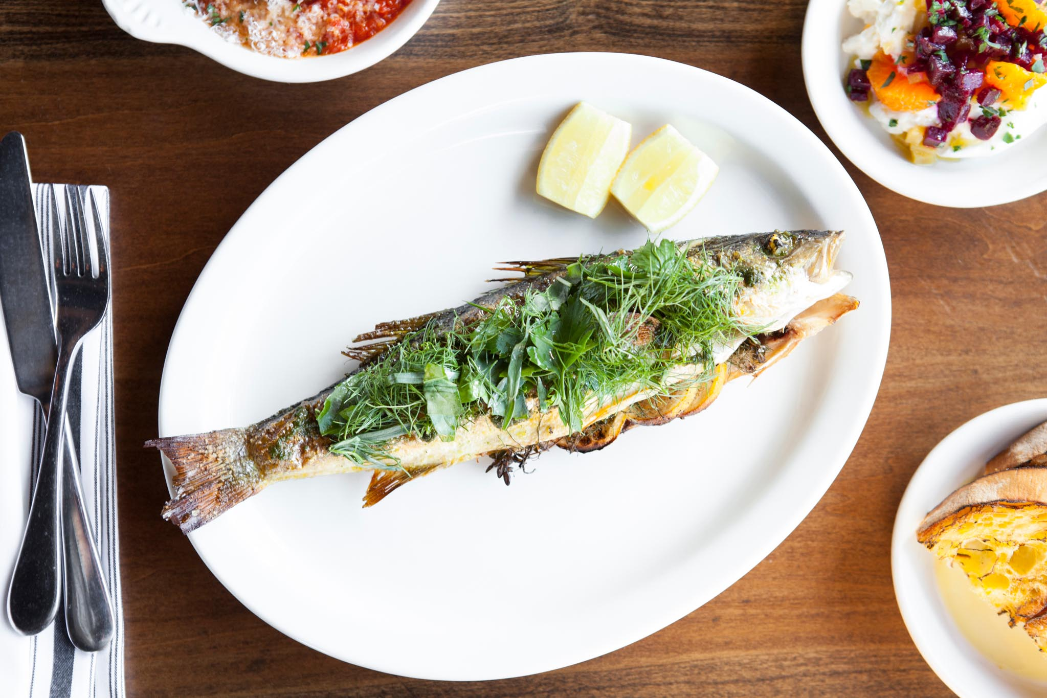 Whole branzino at Scopa Italian Roots