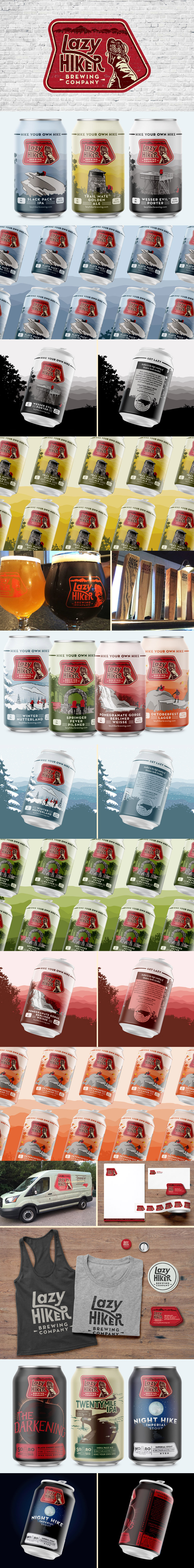 Lazy Hiker Brewing company branding and packaging design by Riddle Design Co. in Richmond, Virginia