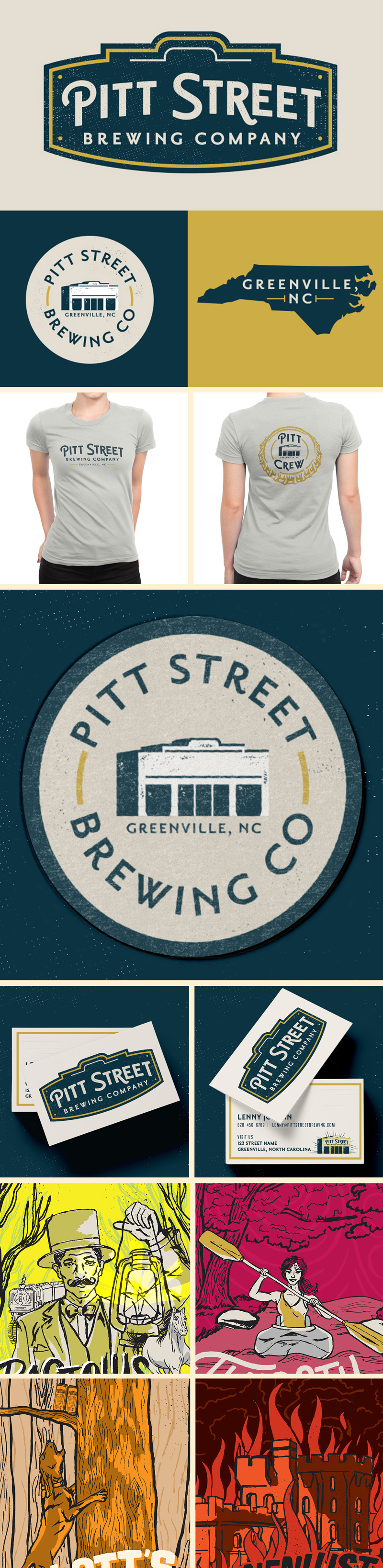 Pitt Street Brewing Company branding and packaging design with custom typography and illustration by Riddle Design Co. in Richmond, Virginia