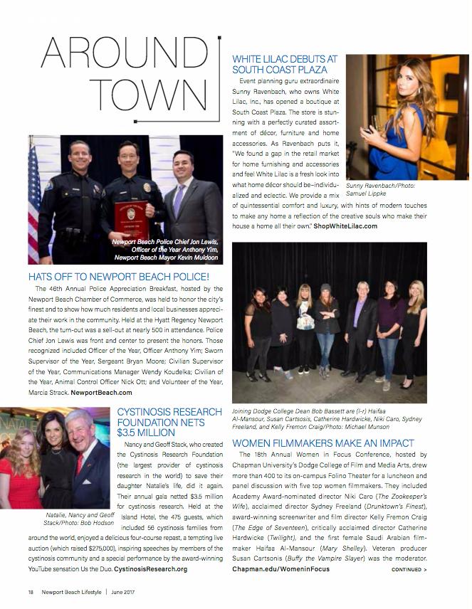 Newport Beach Lifestyle Magazine, June 2017.