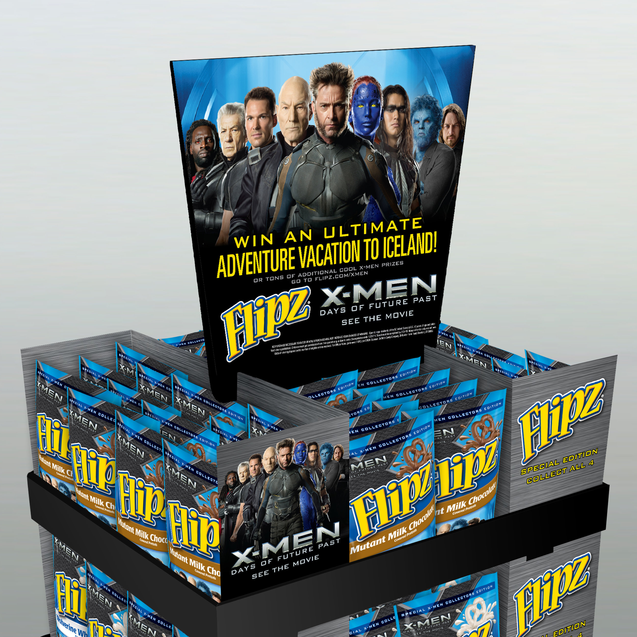 """X-MEN Pallet Display   The following is placeholder text known as """"lorem ipsum,"""" which is scrambled Latin used by designers to mimic real copy. Donec eu est non lacus lacinia semper. Mauris id fermentum nulla. In sit amet felis malesuada, feugiat purus eget, varius mi. In sit amet felis malesuada, feugiat purus eget, varius mi."""