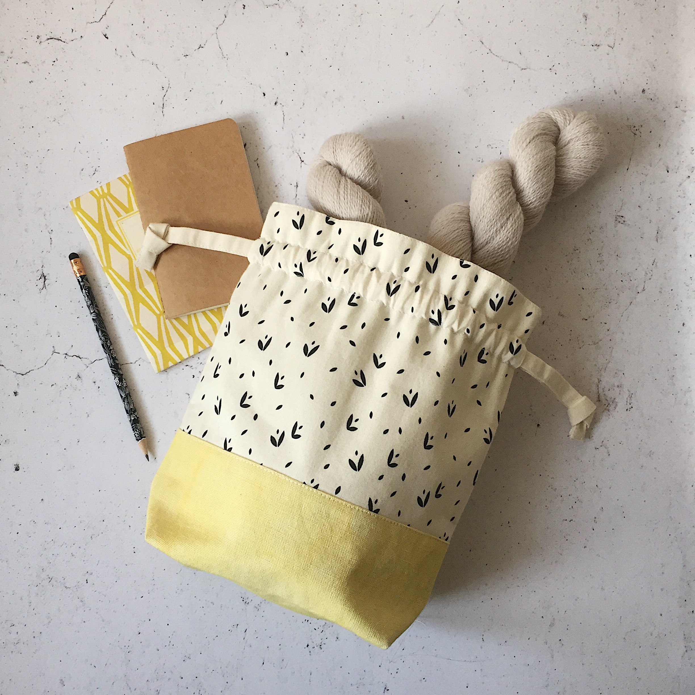 Naturally Dyed Yellow Drawstring Bag