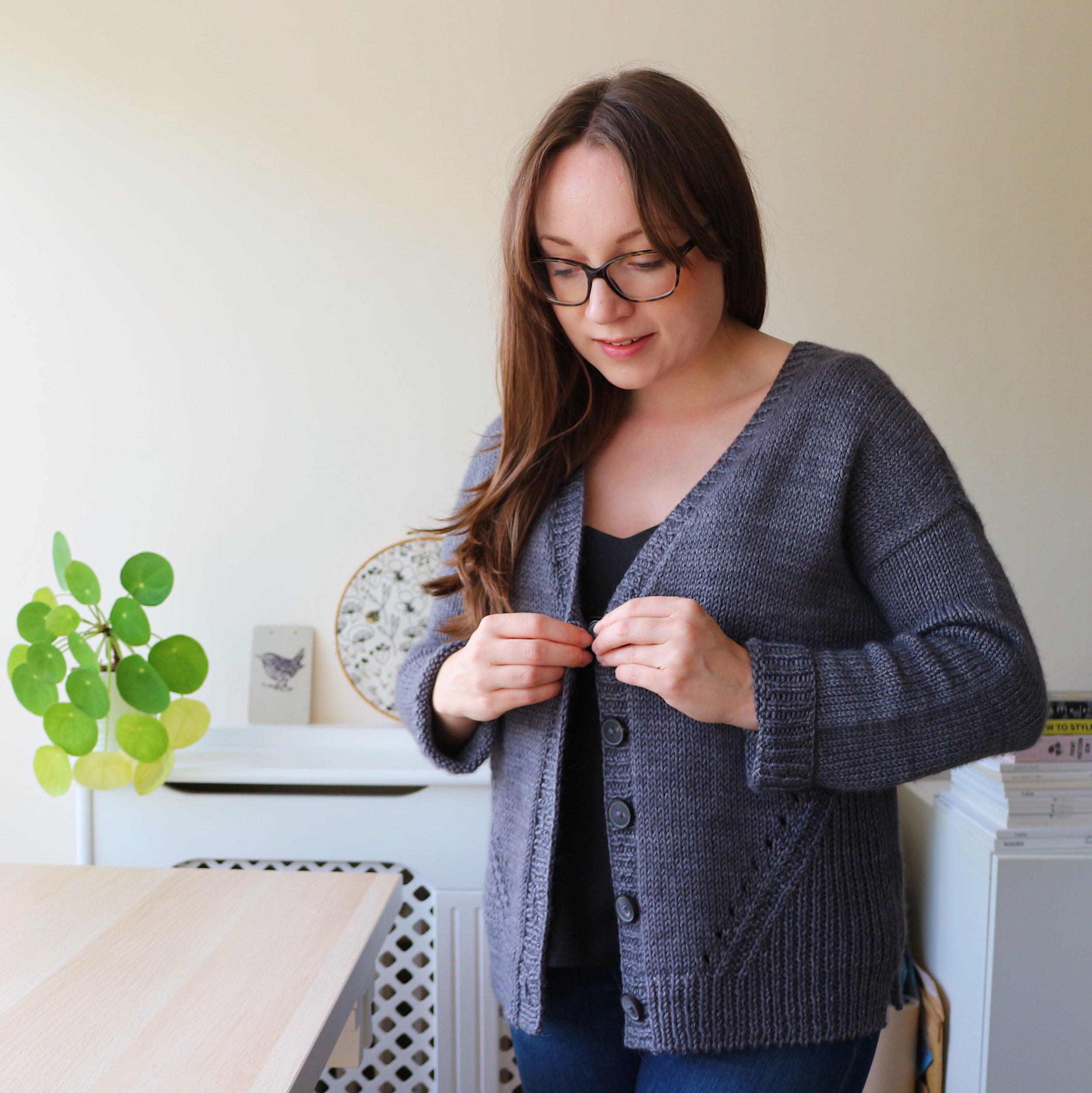 Alex Collins wearing the Brooklyn Tweed Truss cardigan in The Fibre Co. Canopy Worsted