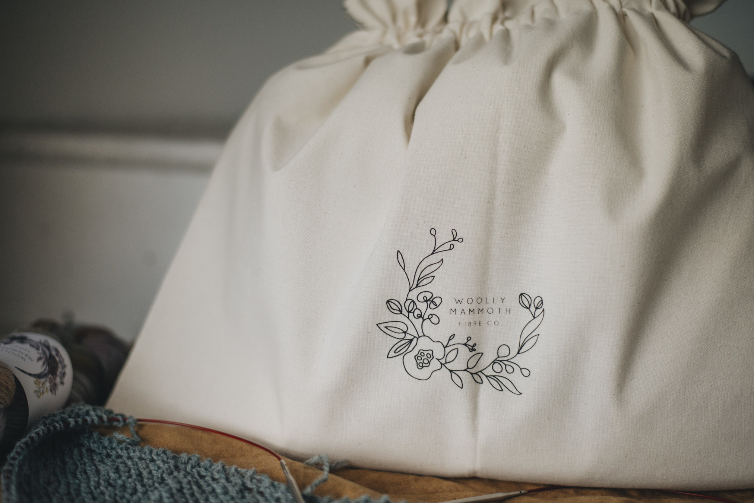 Alex Collins Sweater Knitting Project Bag for Woolly Mammoth Fibre Co.