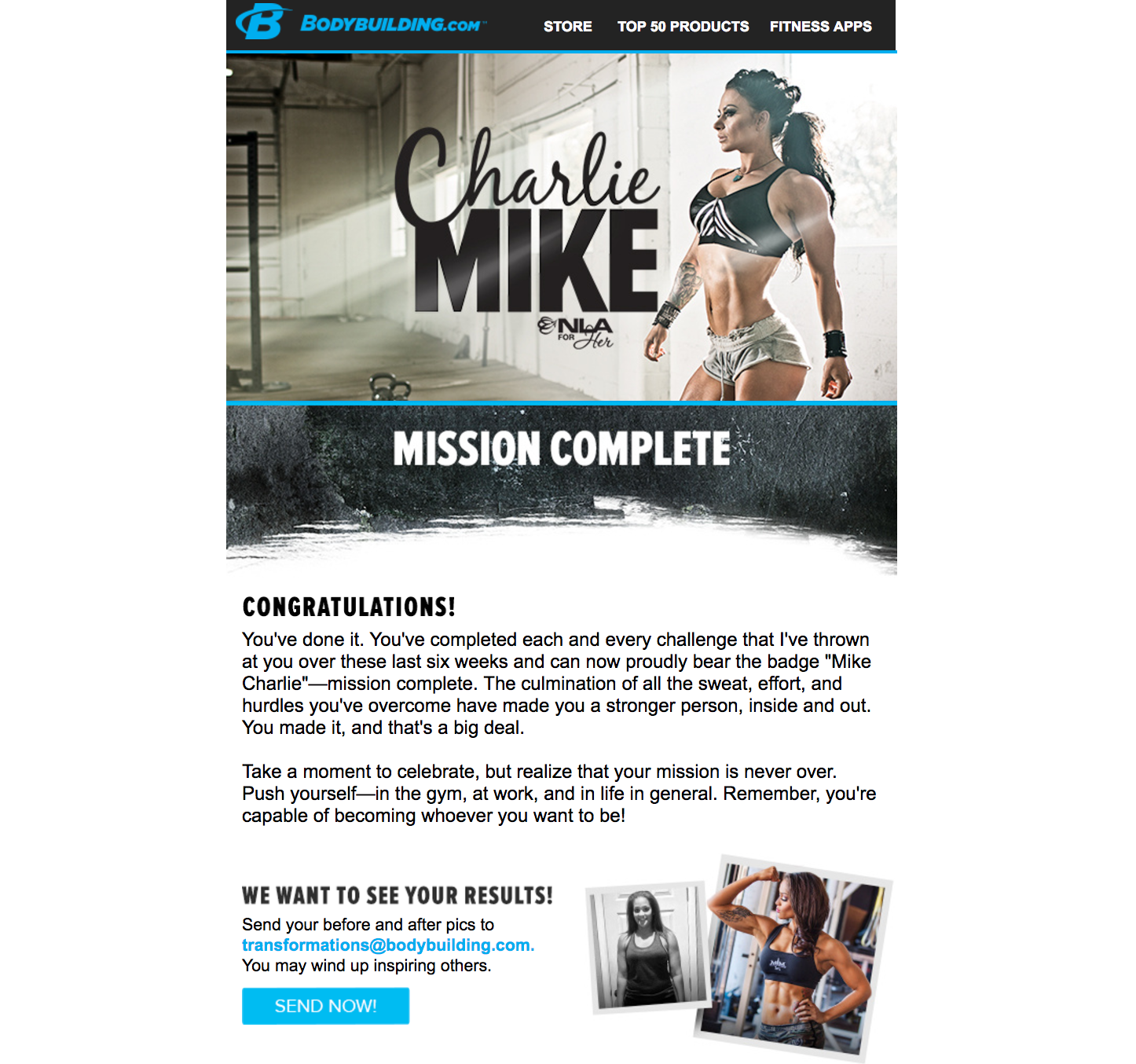 NLA's Charlie Mike Trainer   I wrote copy for the congratulatory email users received when they completed the 6-week program.