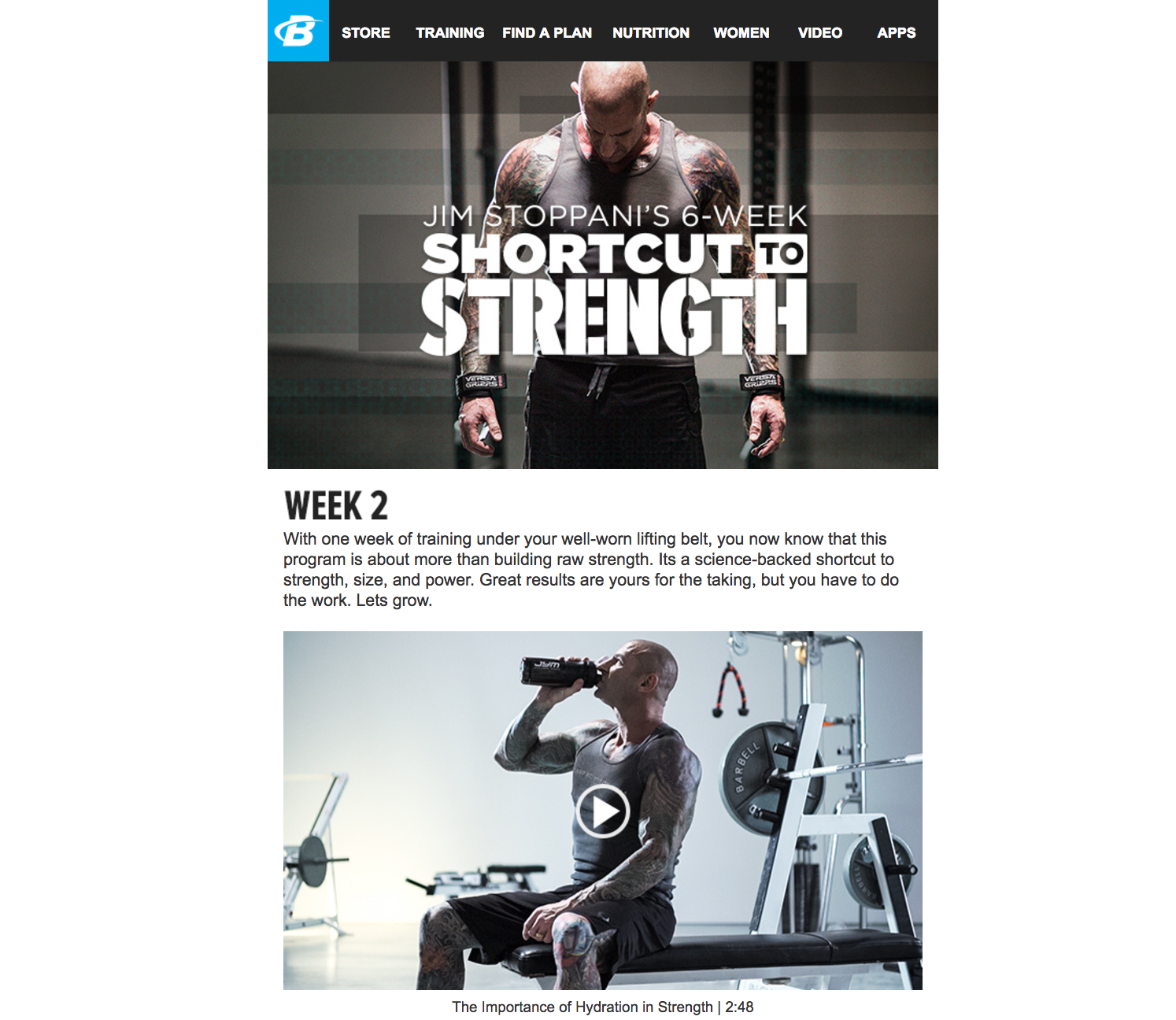 Jim Stoppani's 6-Week Shortcut To Strength   I wrote copy for the weekly email blasts users received when they signed up for the program.