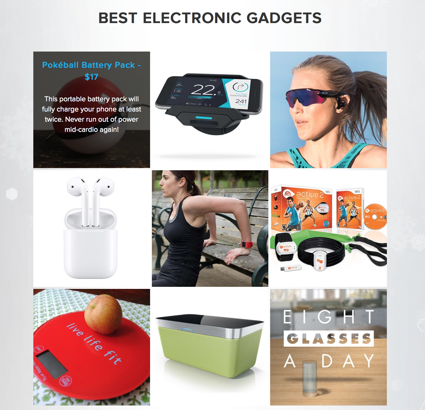 Bodybuilding.com:   Holiday Fit Gift Guide  This guide features easy-access points with a category breakdowns and short rollover descriptions on workout clothes, electronic gadgets, and supps and snacks.