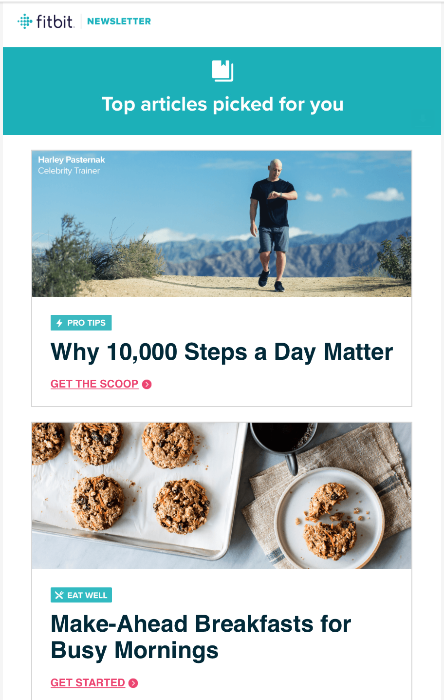 Fitbit April Newsletter:    Why 10K Steps A Day Matter     Celebrity trainer Harley Pasternak offers tips on how to sneak more steps into your day. To date, this popular article has gotten TK page views.
