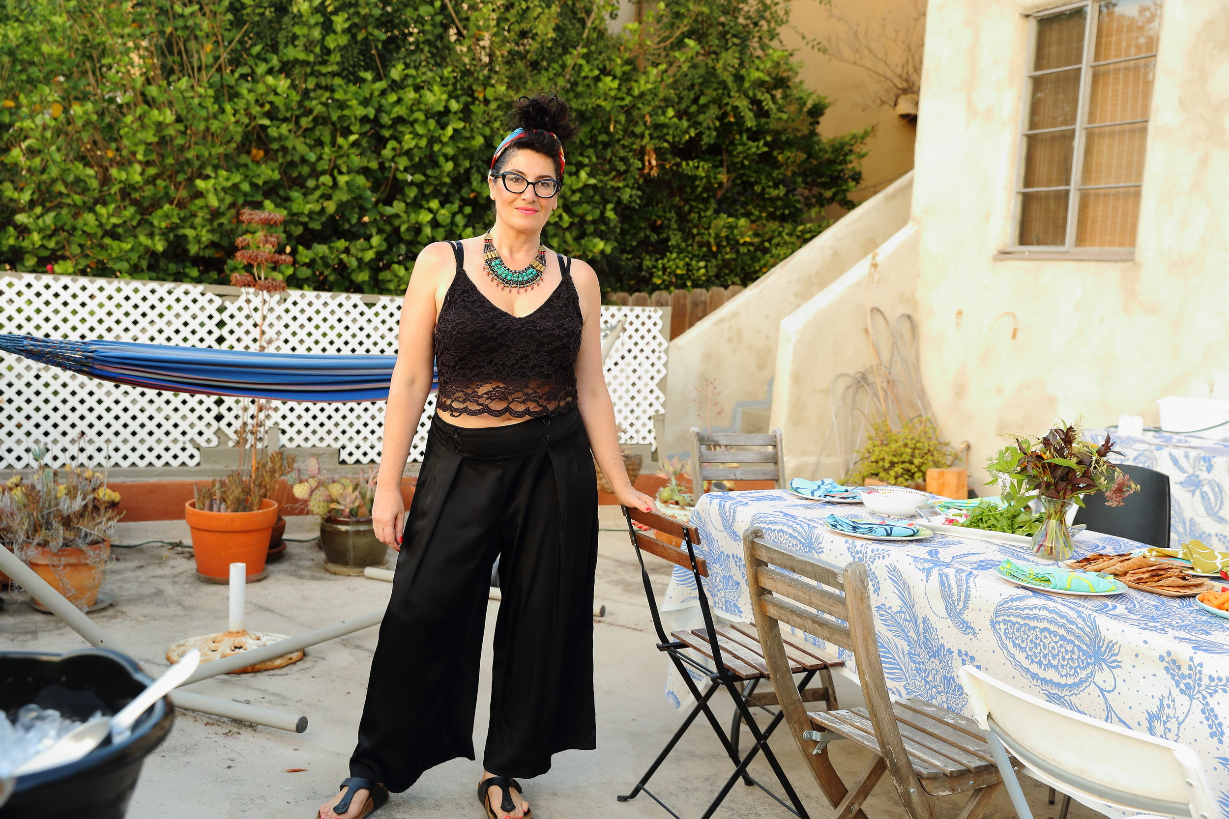 A photo of me taken before guests began arriving on Saturday....the calm before the (awesome) storm of hostessing a dinner party!  Photo credit:   Tina June