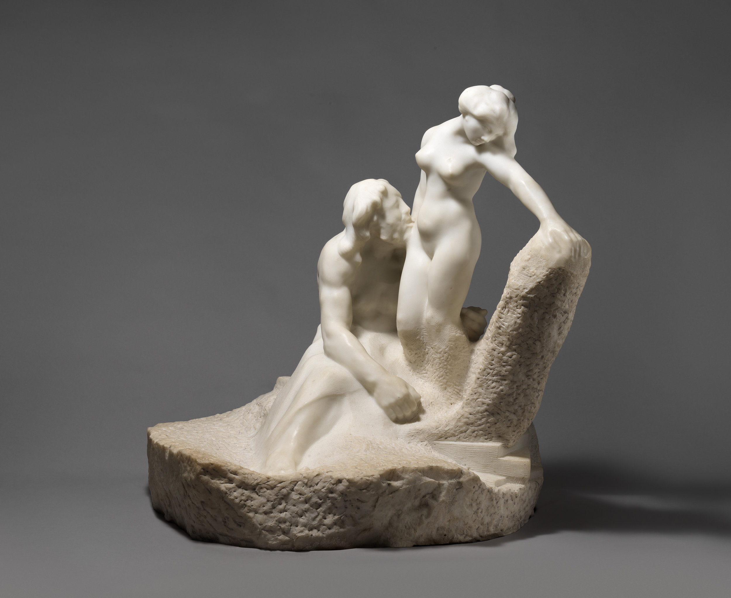 Pygmalion and Galatea,  Auguste Rodin,  modeled 1889 shortly after separation from Claudel, and later carved ca. 1908–9. Metropolitan Museum of Art.
