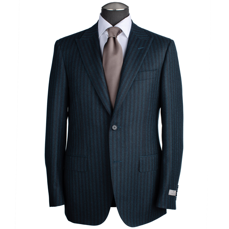 Canali Siena Model Suit with Peak Lapel in Green & Brown Pinstripe — Uomo  San Francisco   Luxury European Menswear