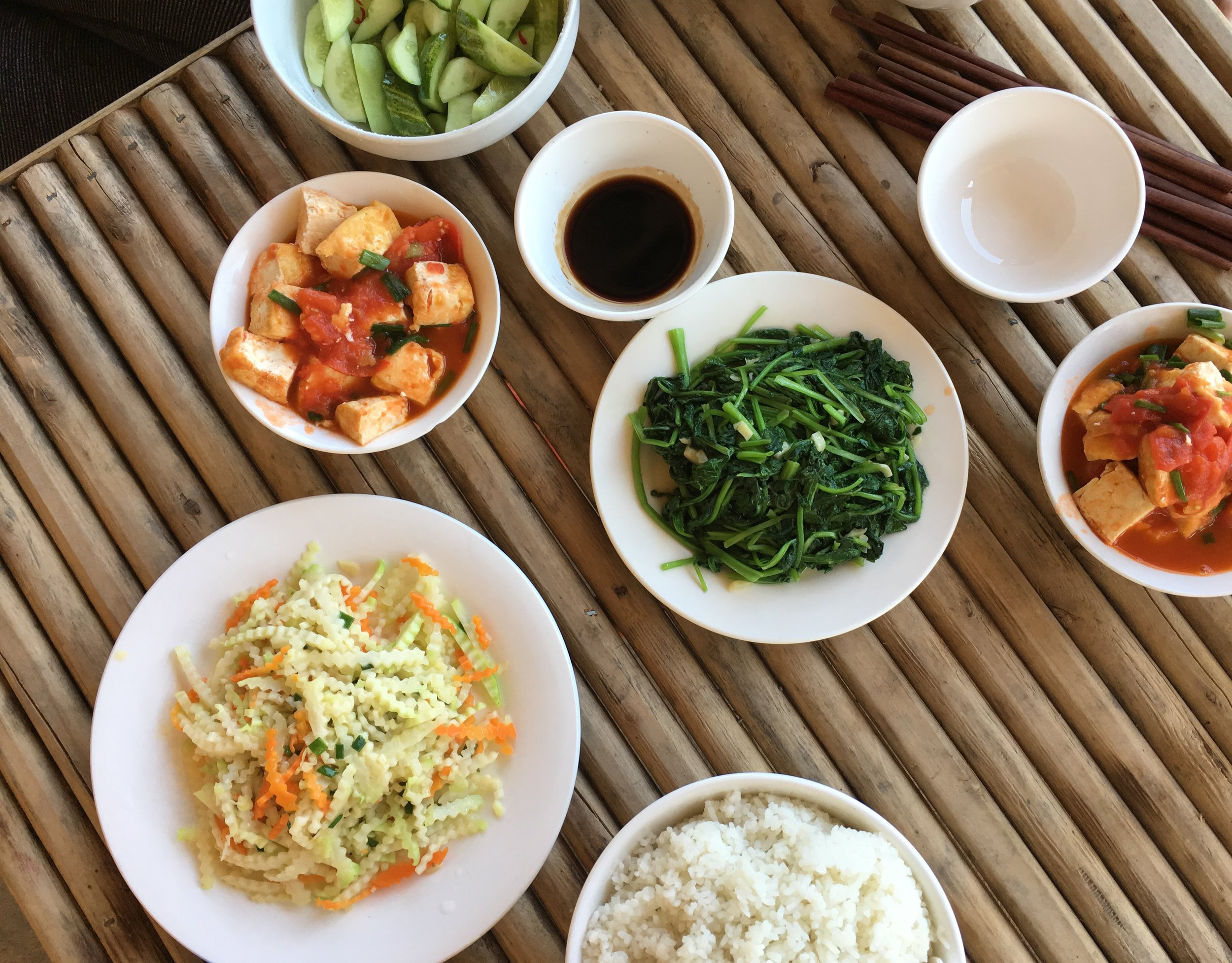 Home cooked plant based meal in a Hmong Village in Sapa, Vietnam