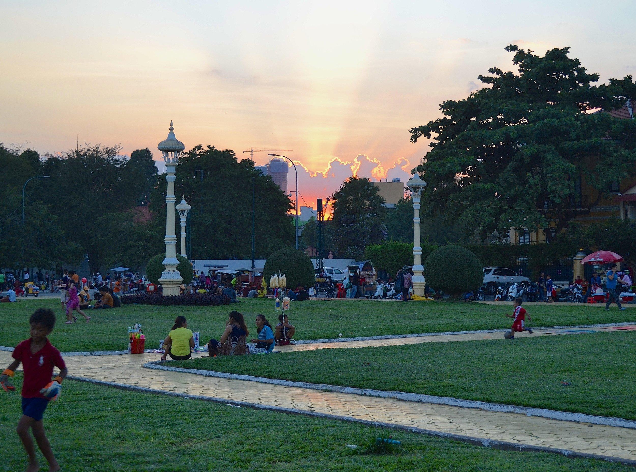 Last night's sunset in Phnom Penh. Photo cred: me