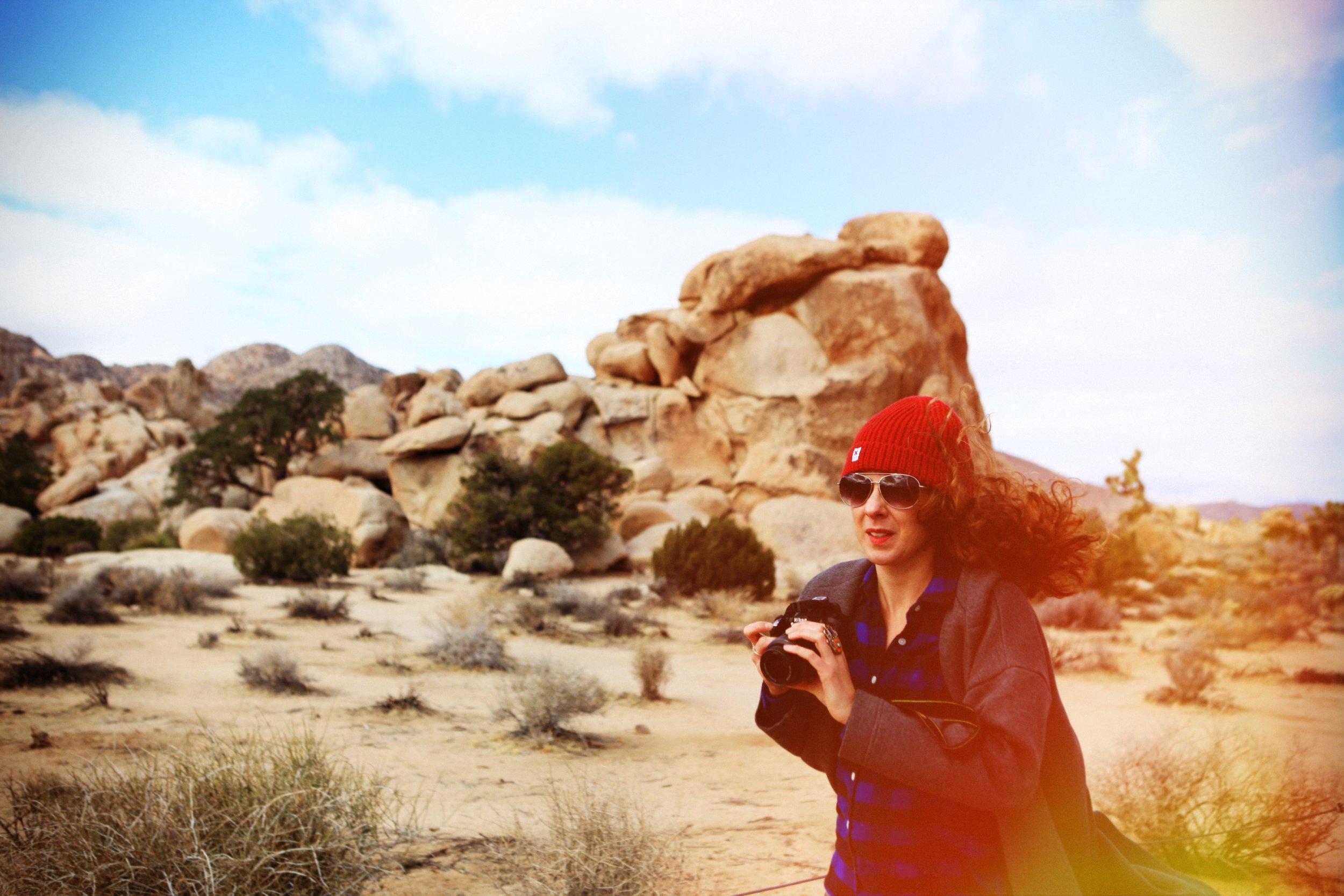 Playing photographer on a windy day in Joshua Tree National Park, California. Photo Cred:  Joni Lahdesmaki