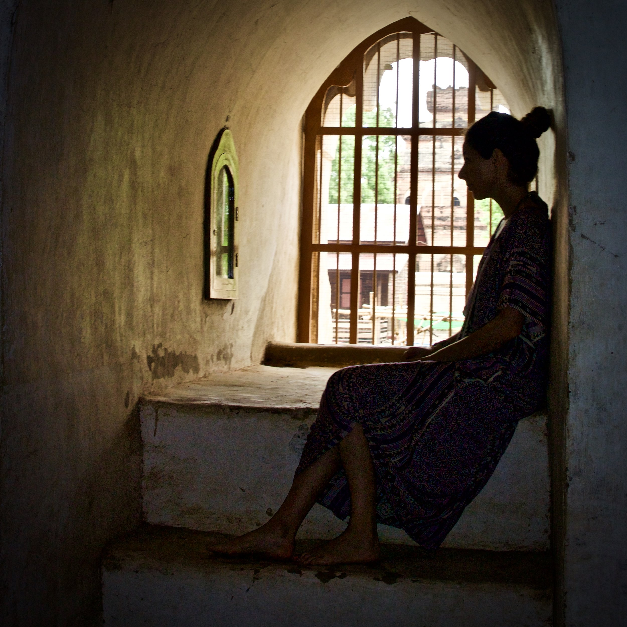 Me pretending to silently contemplate in Bagan, Myanmar.  Photo cred:  Christina Thelin