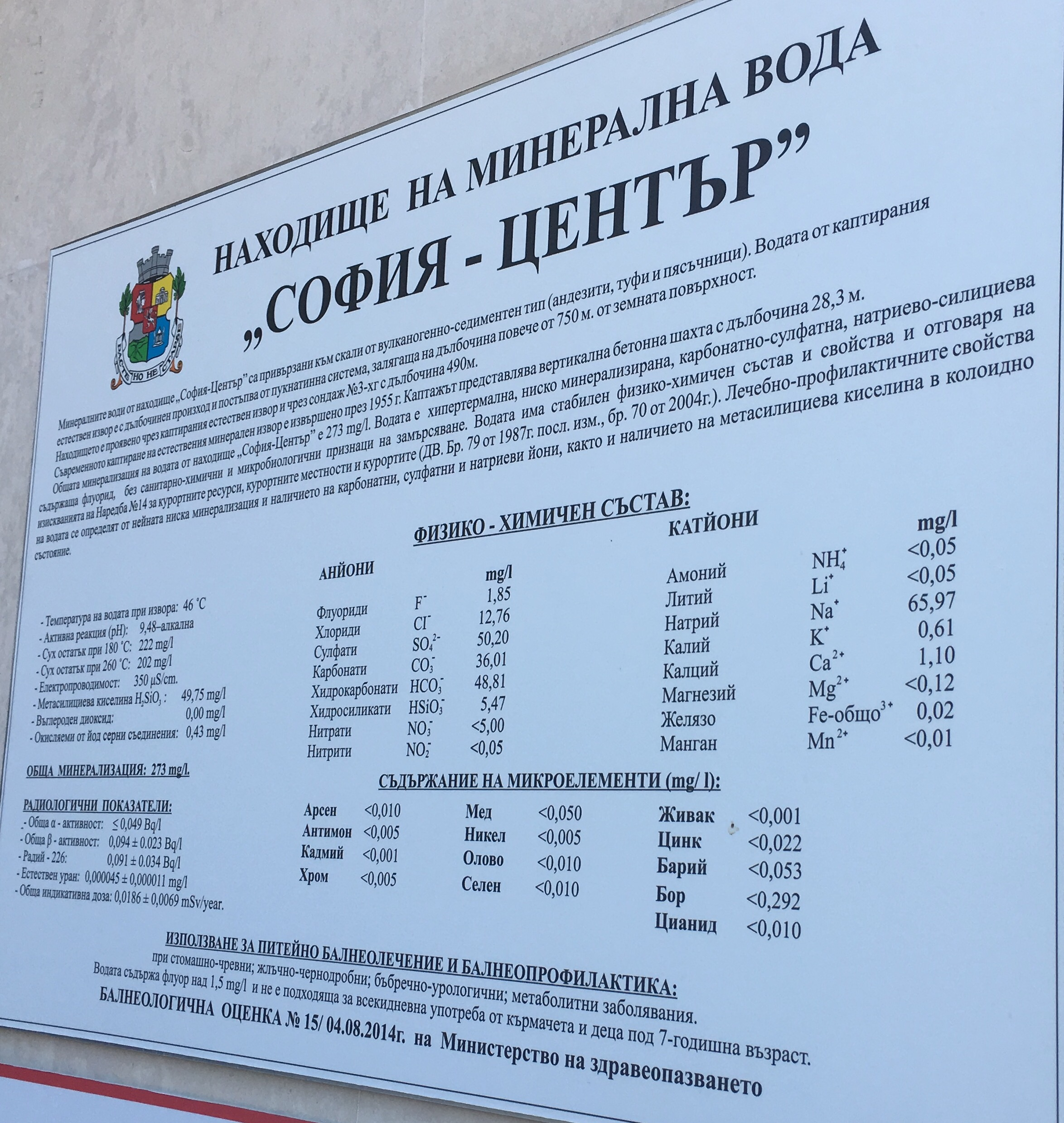Mineral content in the town center drinking springs
