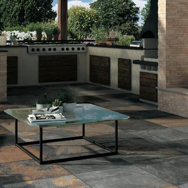 ARDESIE   CONTEMPORARY  Ardesie captures the elegance of natural stone in a contemporary way. The end result is a slate-like look with the durability of porcelain. Expect the wide range of color variation that is inherent in natural slate.