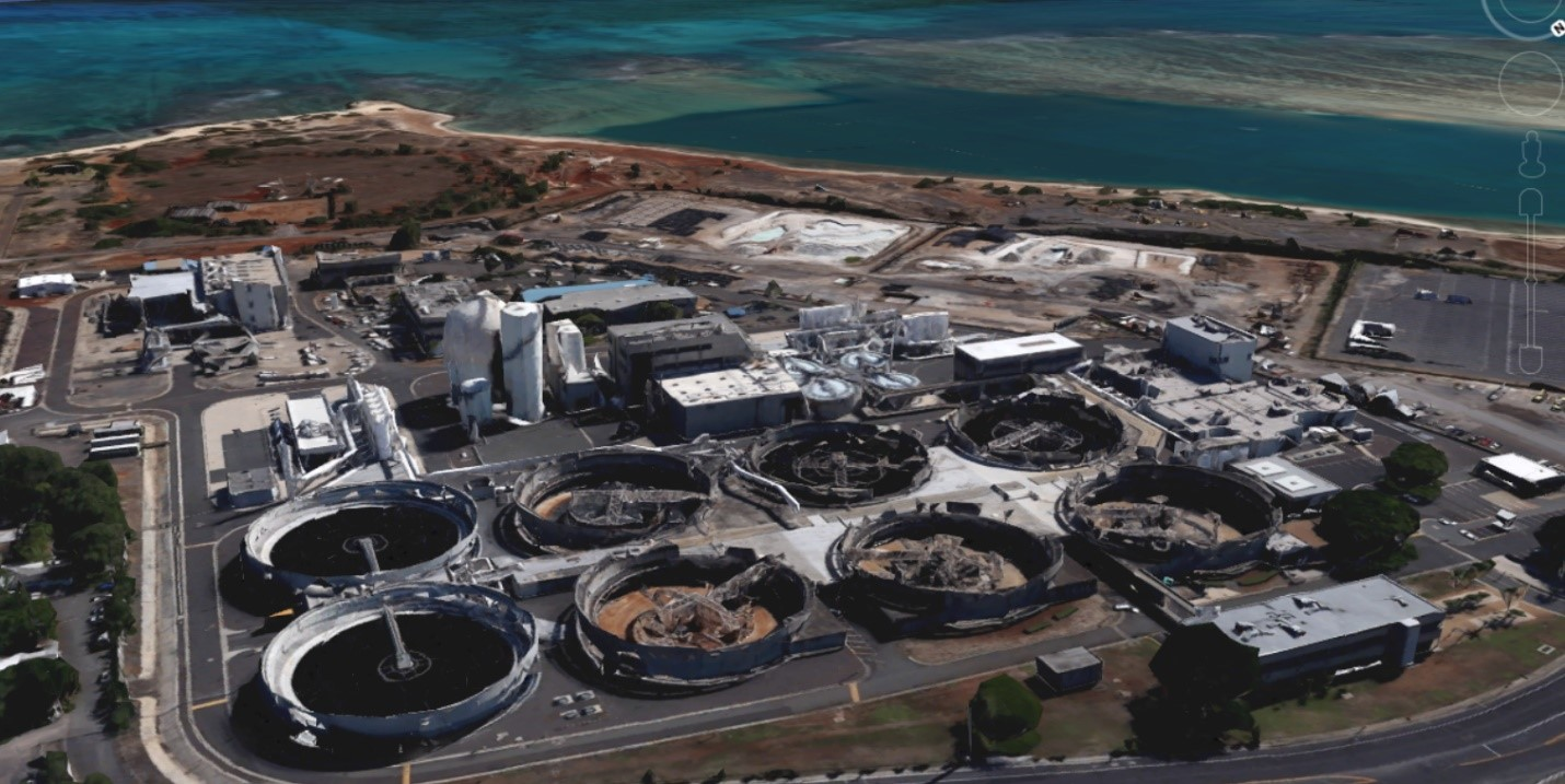 The Sand Island Wastewater Treatment Plant in Honolulu, Hawaii.