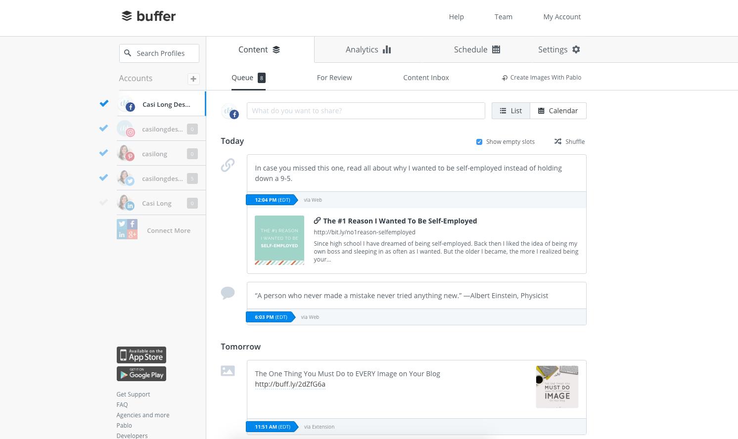 A look at Buffer for Business interface. casilong.com