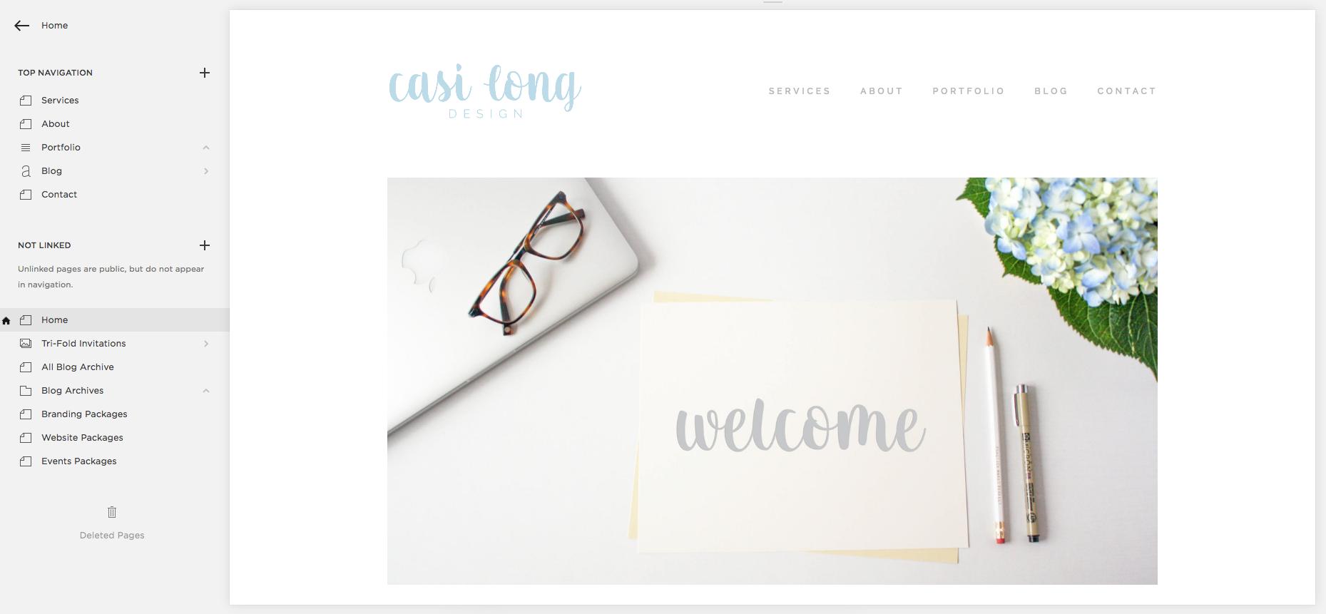 Squarespace Dashboard, Page editor   casilong.com