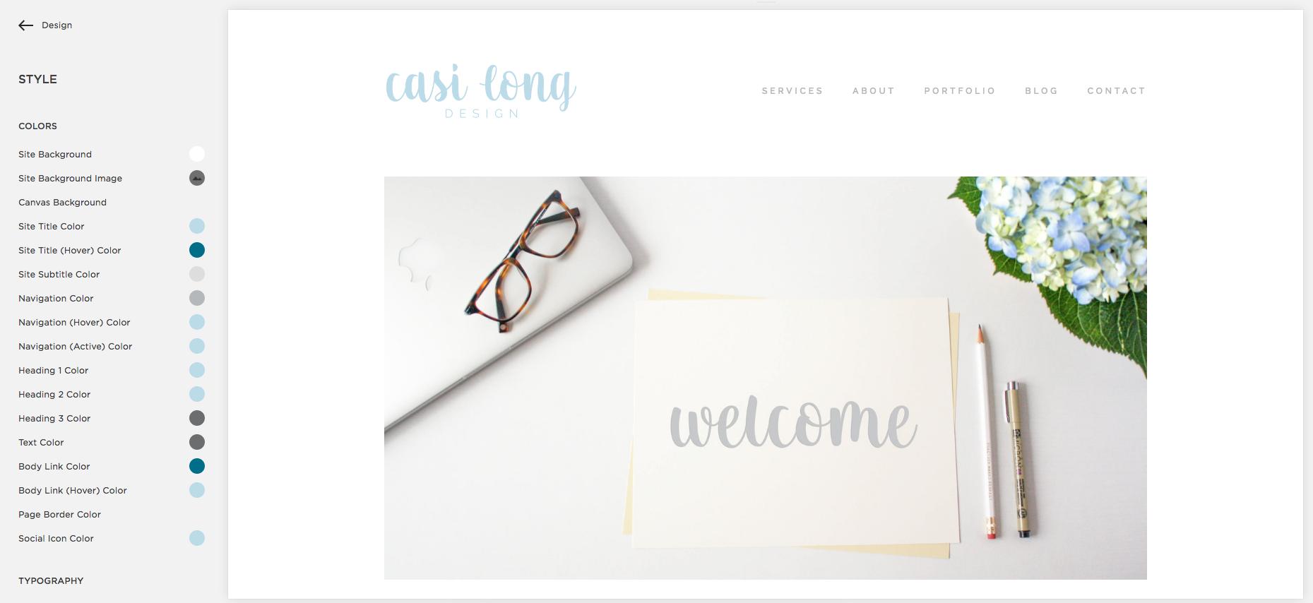 Squarespace Dashboard, Style Editor   casilong.com