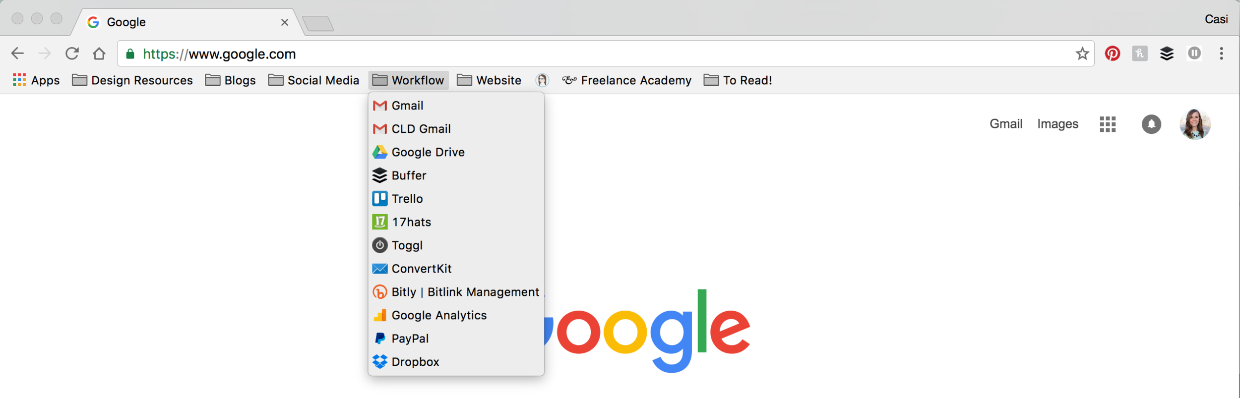 Six ways to stay organized in Business   Use the bookmark bar in Chrome   casilong.com/blog   #casilongdesign #fearlesspursuit