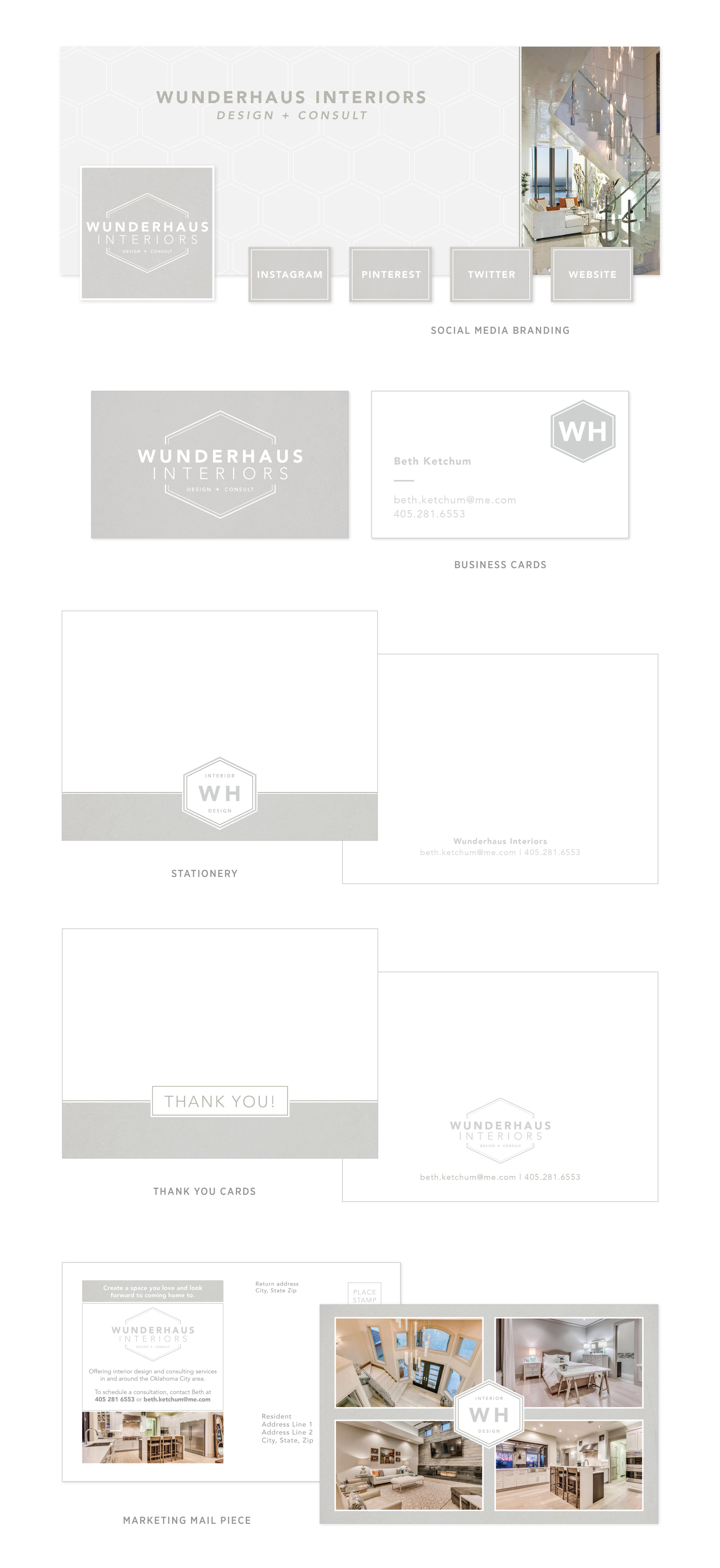 Wunderhaus Interiors branding + collateral design   casilong.com #casilongdesign #fearlesspursuit #branding