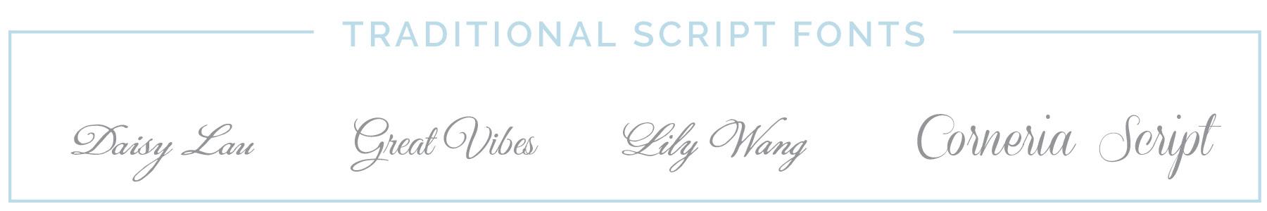 Traditional Script Fonts | casilong.com #casilongdesign
