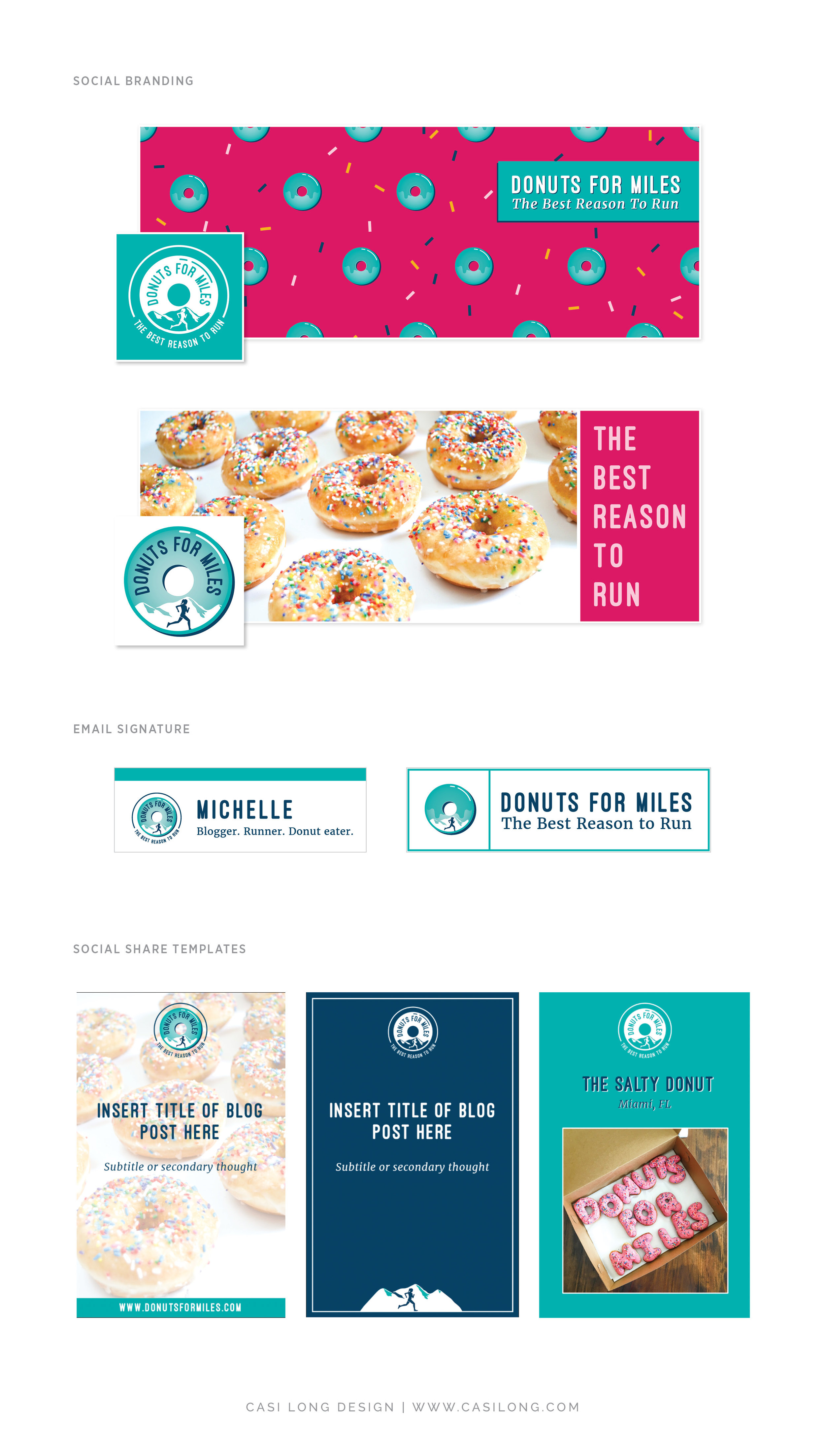 Social Media Branding Donuts for Miles | Branding by Casi Long Design | www.casilong.com #casilongdesign