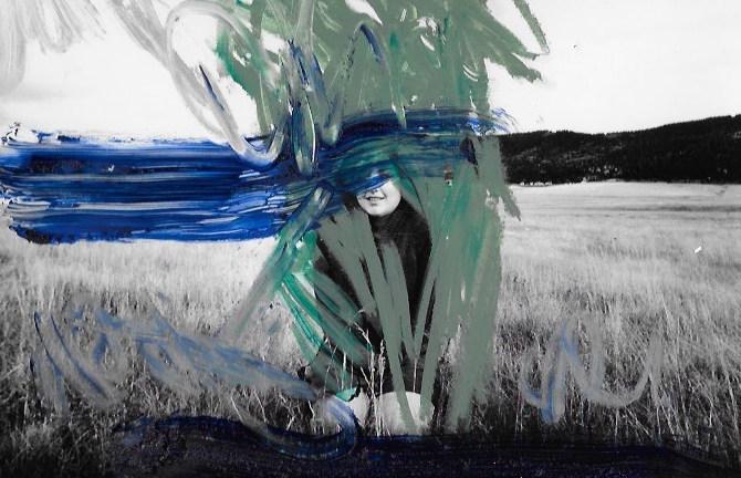 Open, Sarah Palmeri, 9 x 12 inches, oil on black and white print, 2016.