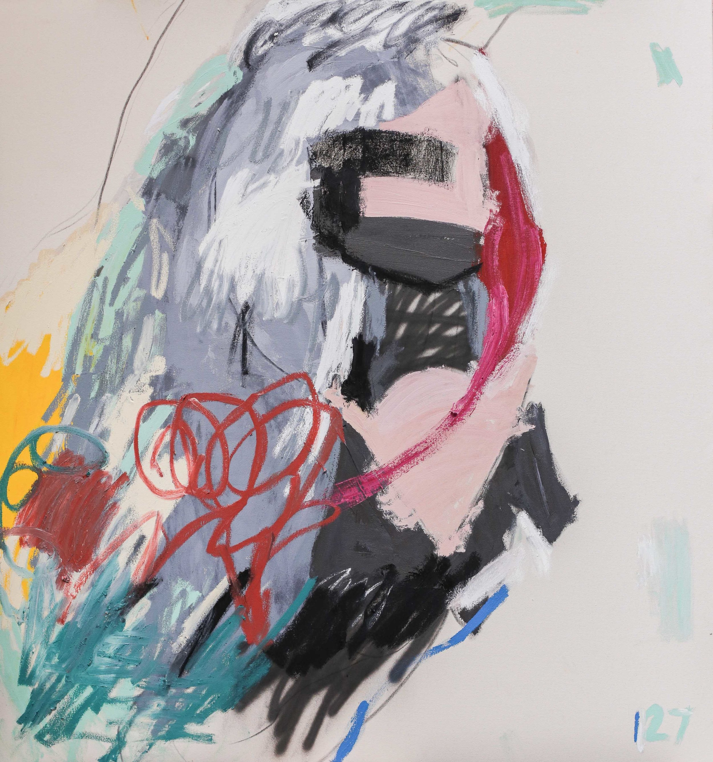 "Twenty Seven ,spray paint, acrylic paint, oil stick and charcoal on canvas, 64"" x 60"", 2017"