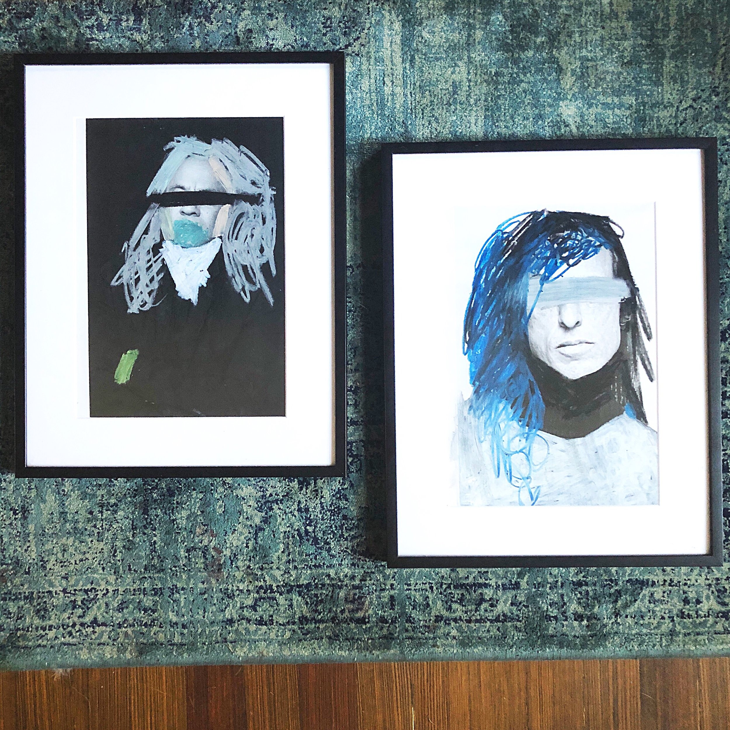 Palmeri's collages titled  Anish and  Rick I were  made with oil pastels on the pages of fashion magazine in 2015.