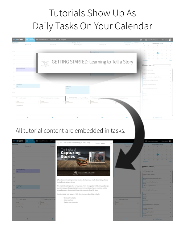 IN MYCORE, YOUR EVERYDAY PHOTOS TUTORIALS WILL SHOW UP AS DAILY TASKS ON YOUR CALENDAR.