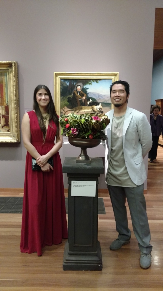 Nixon Tran and his co-exhibitor Alice Van Fleet with their arrangement at the 2017 Bouquets to Art.