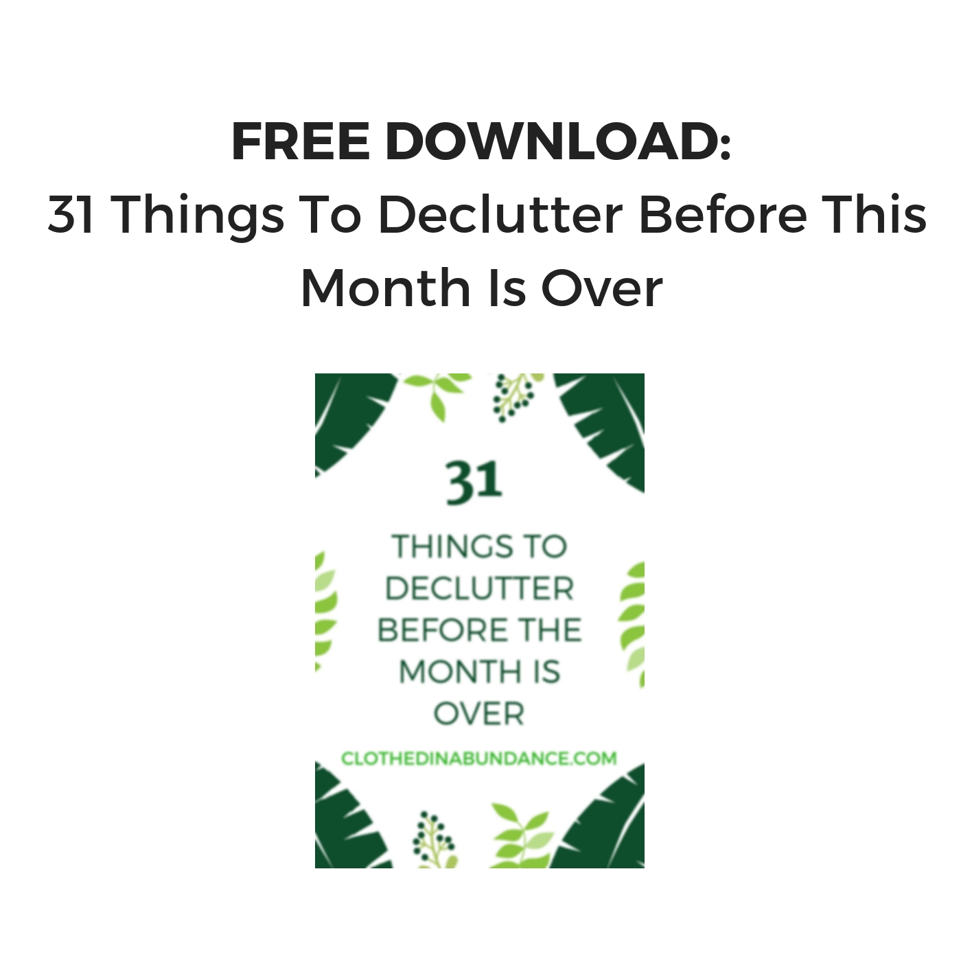 FREE Download 31 Things To Declutter Before This Month Is Over PDF