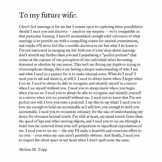 To my future wife. ⚘