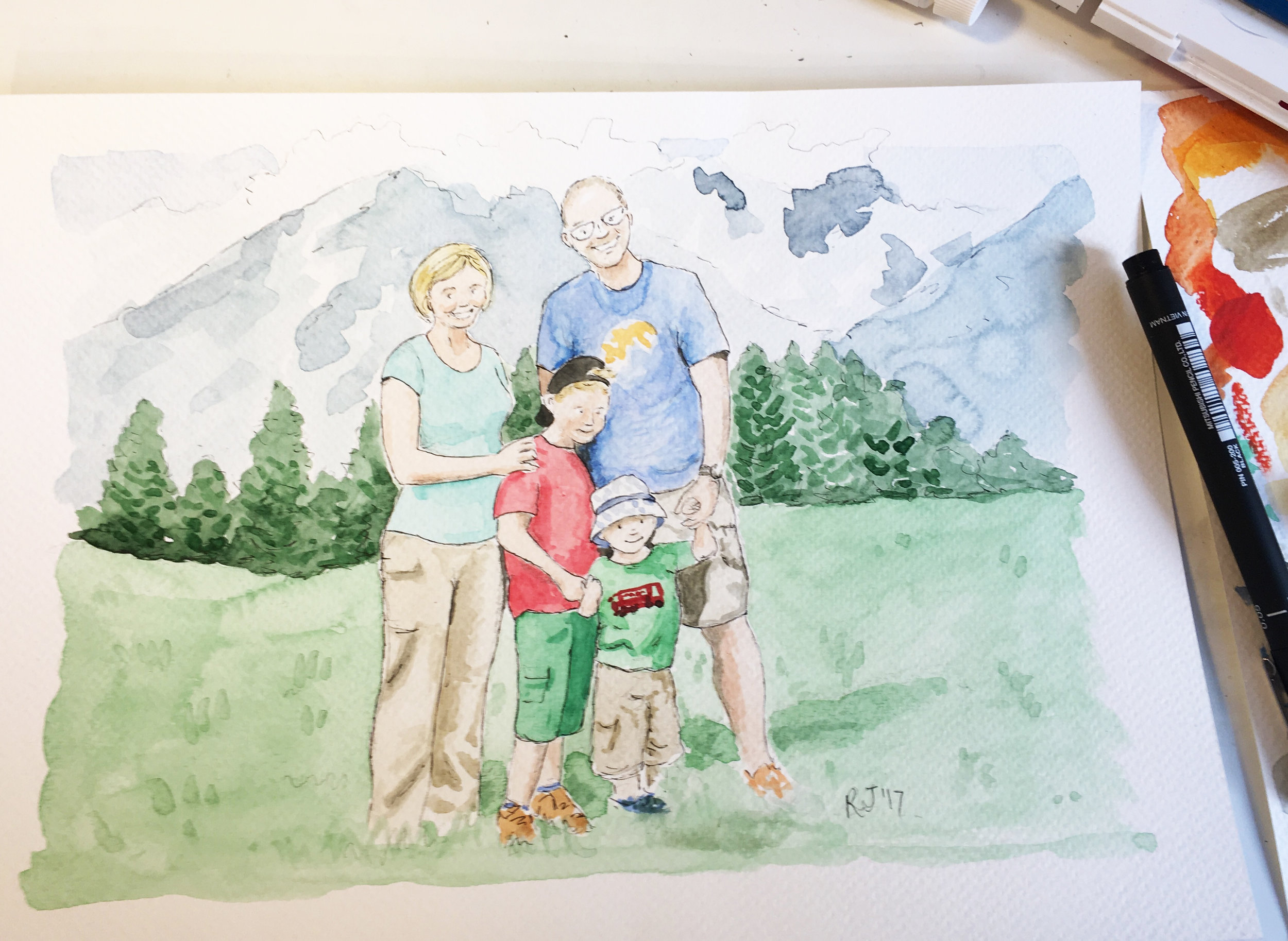 Example of a commission piece. Family portrait in watercolour. Please contact me for a quote.
