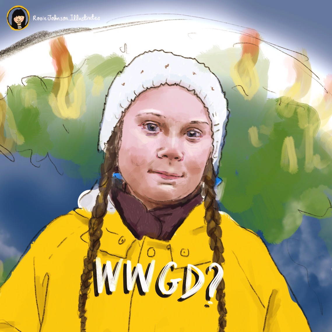 My Greta Thunberg illustration in celebration of her call to arms.