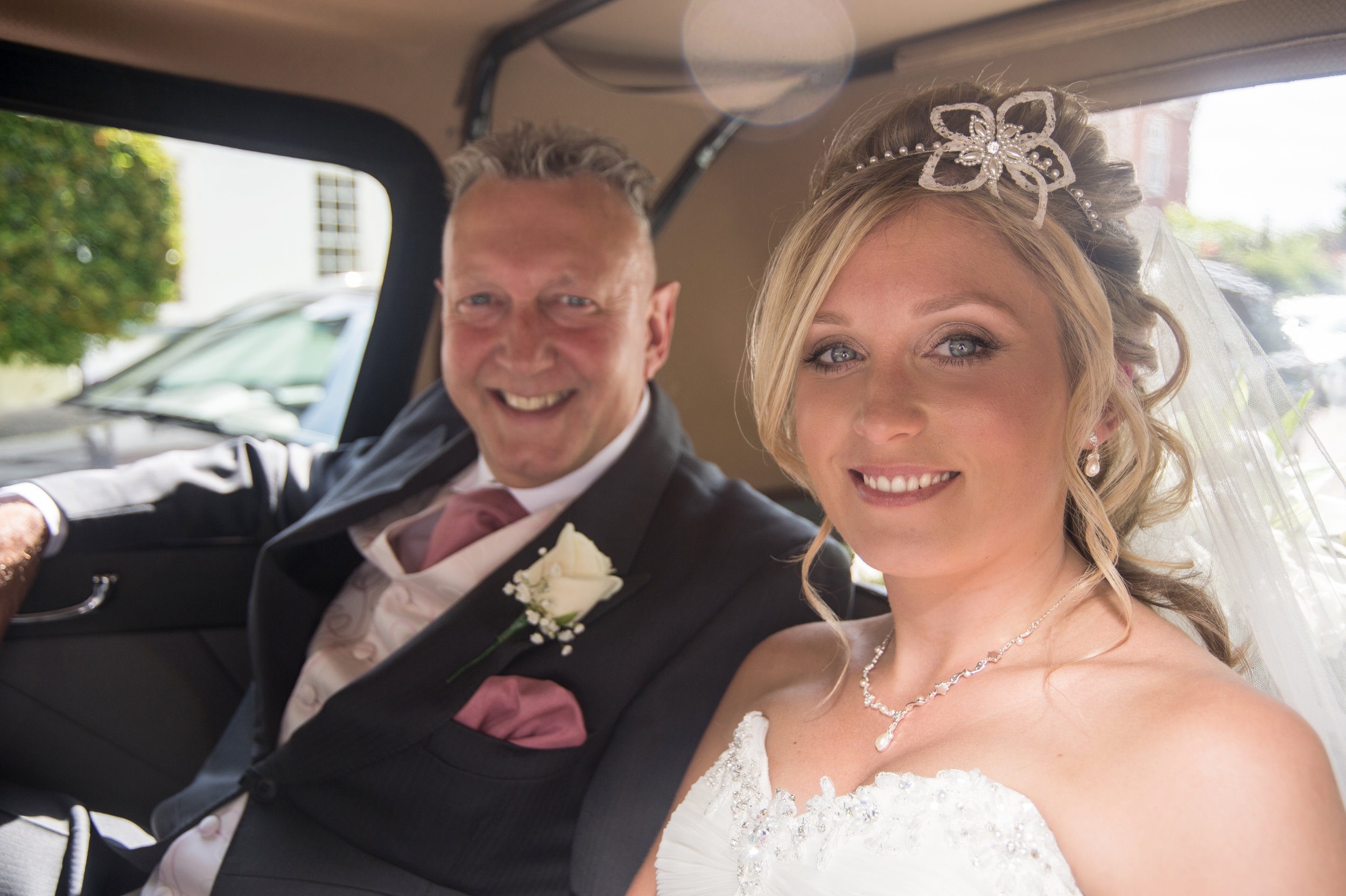 Bride and Father arrive at St Mary the Virgin Church Alveley Shropshire