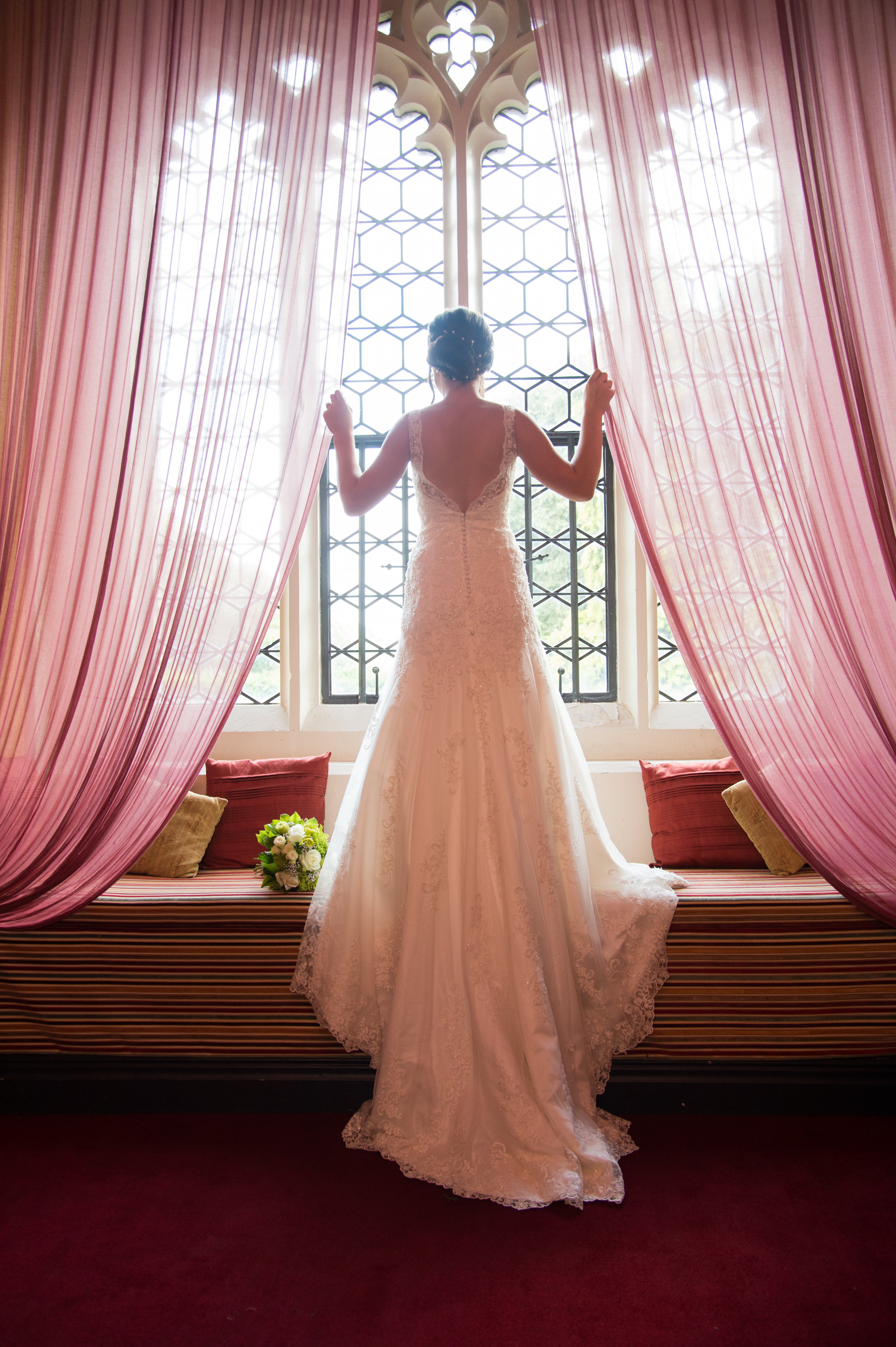 Bride in the window Coombe Abbey Hotel Coventry