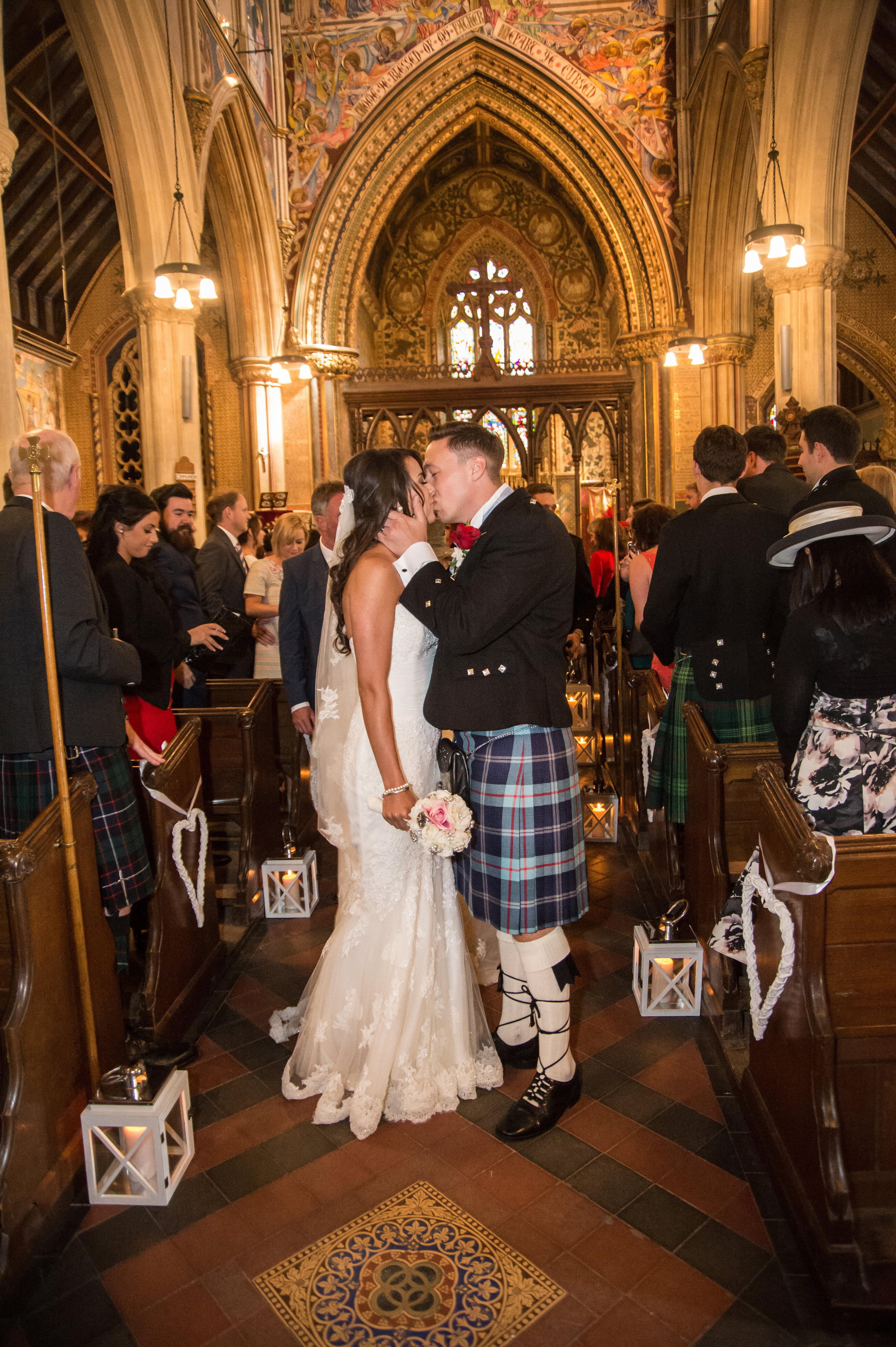 Bride and Groom Highnam Parish Church Gloucestershire