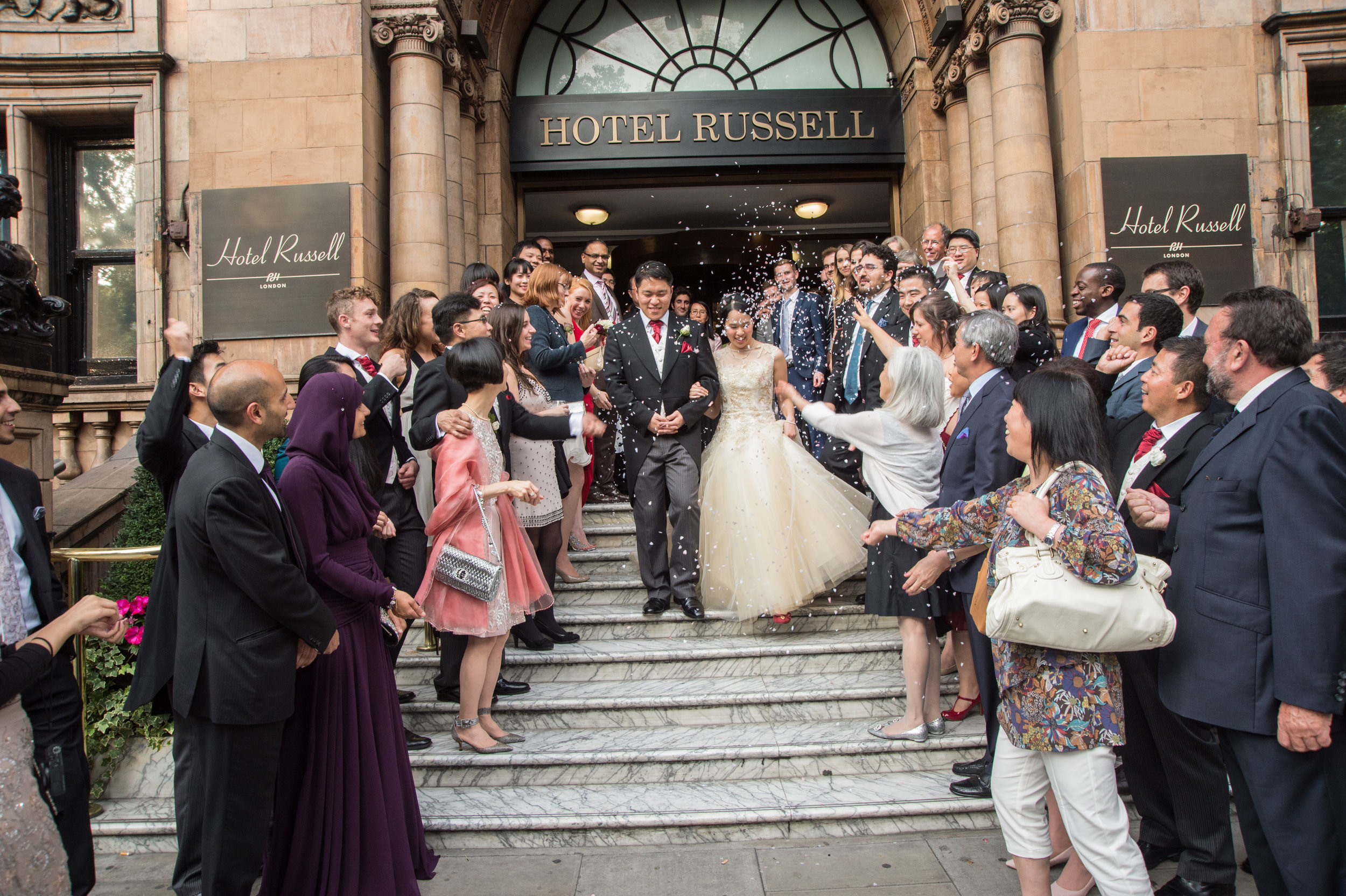 Bride and Groom Confetti Hotel Russell London