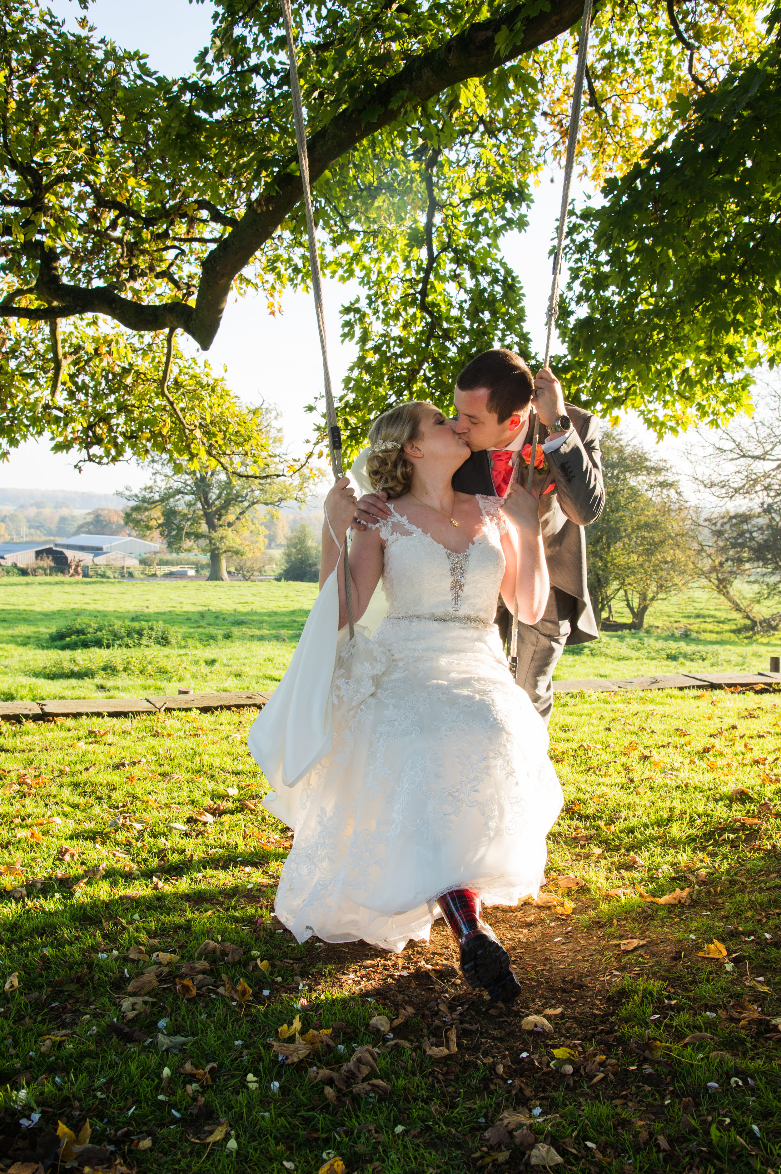 Bride and Groom tree swing Ashton Lodge Coventry