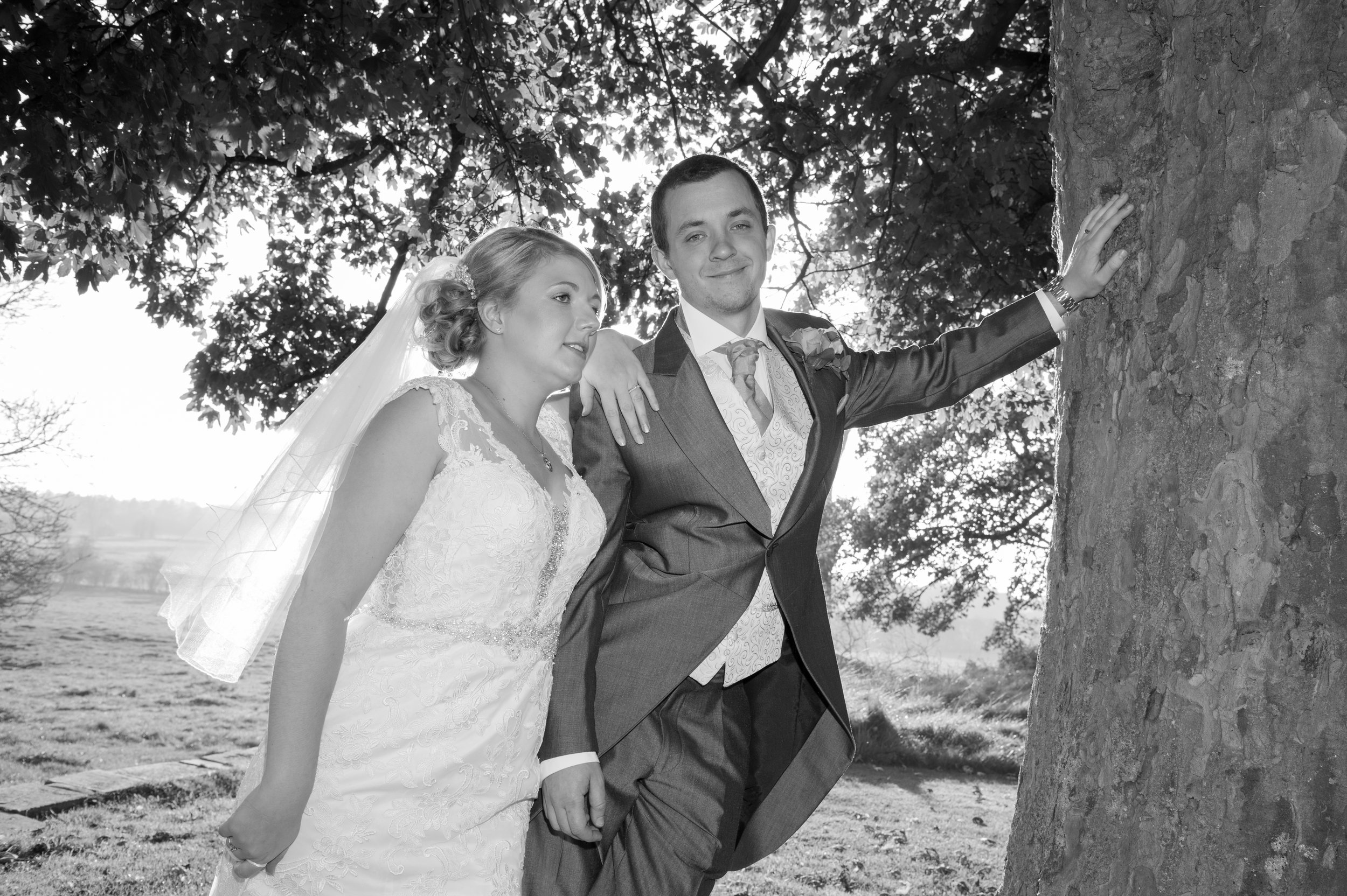 Bride and Groom in the garden Aston Lodge Rugby Warwickshire