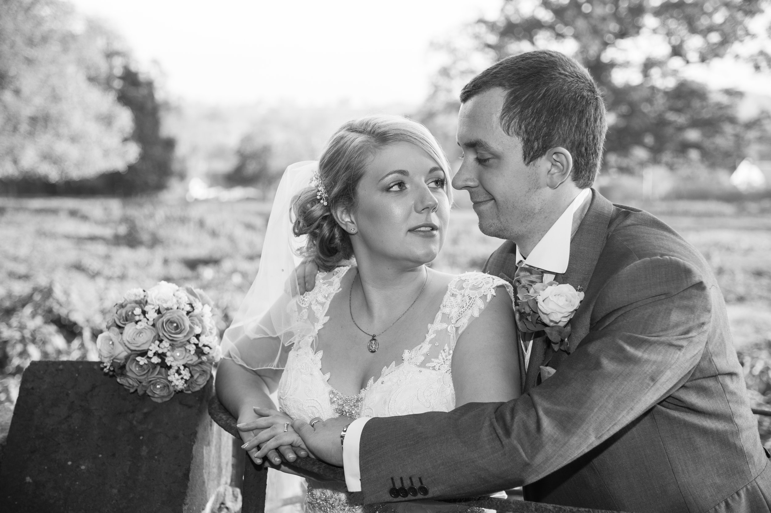 Bride and Groom kiss Aston Lodge Rugby Warwickshire