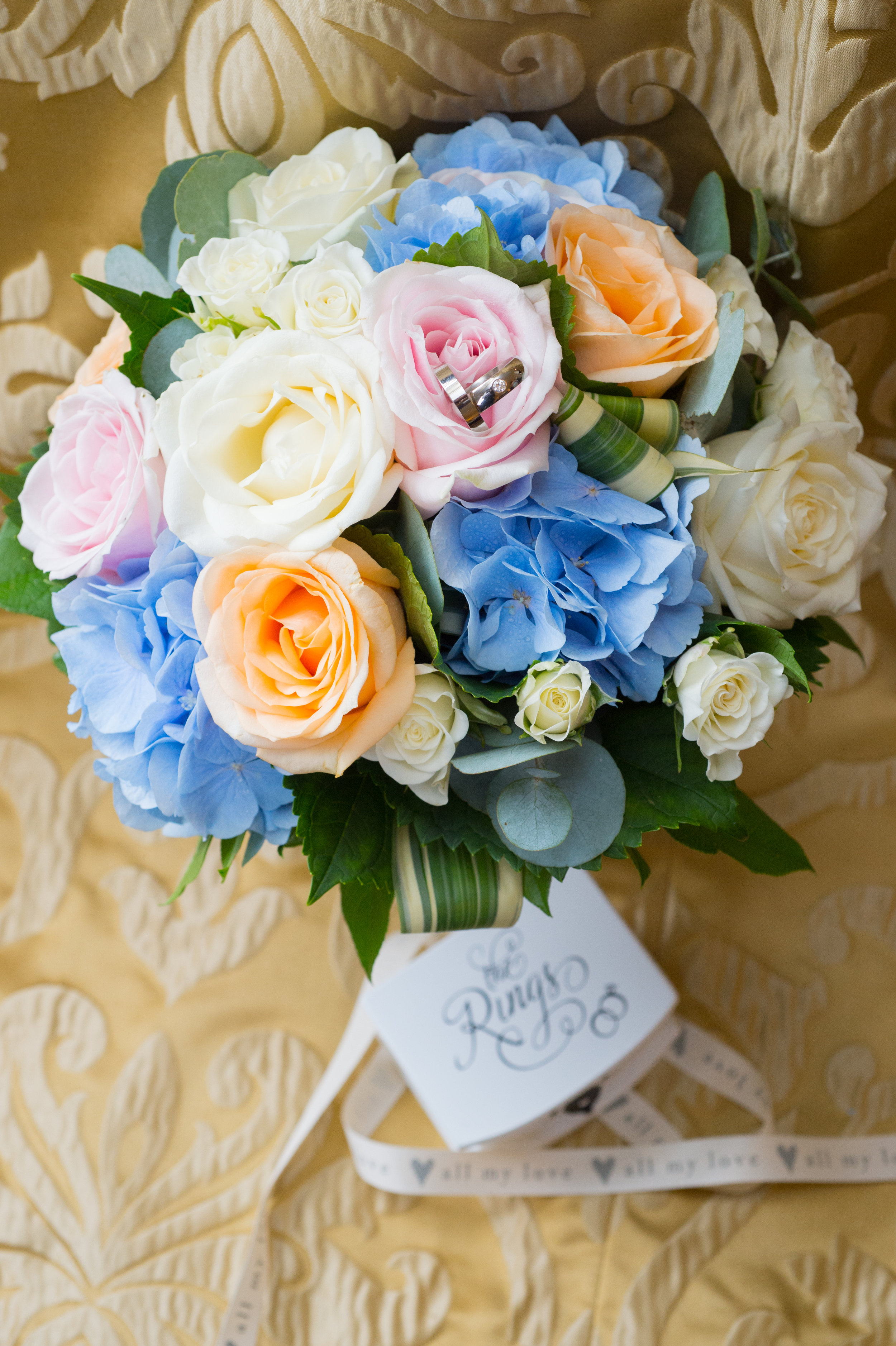 Wedding rings in bouquet Anstey Hall Hotel Coventry