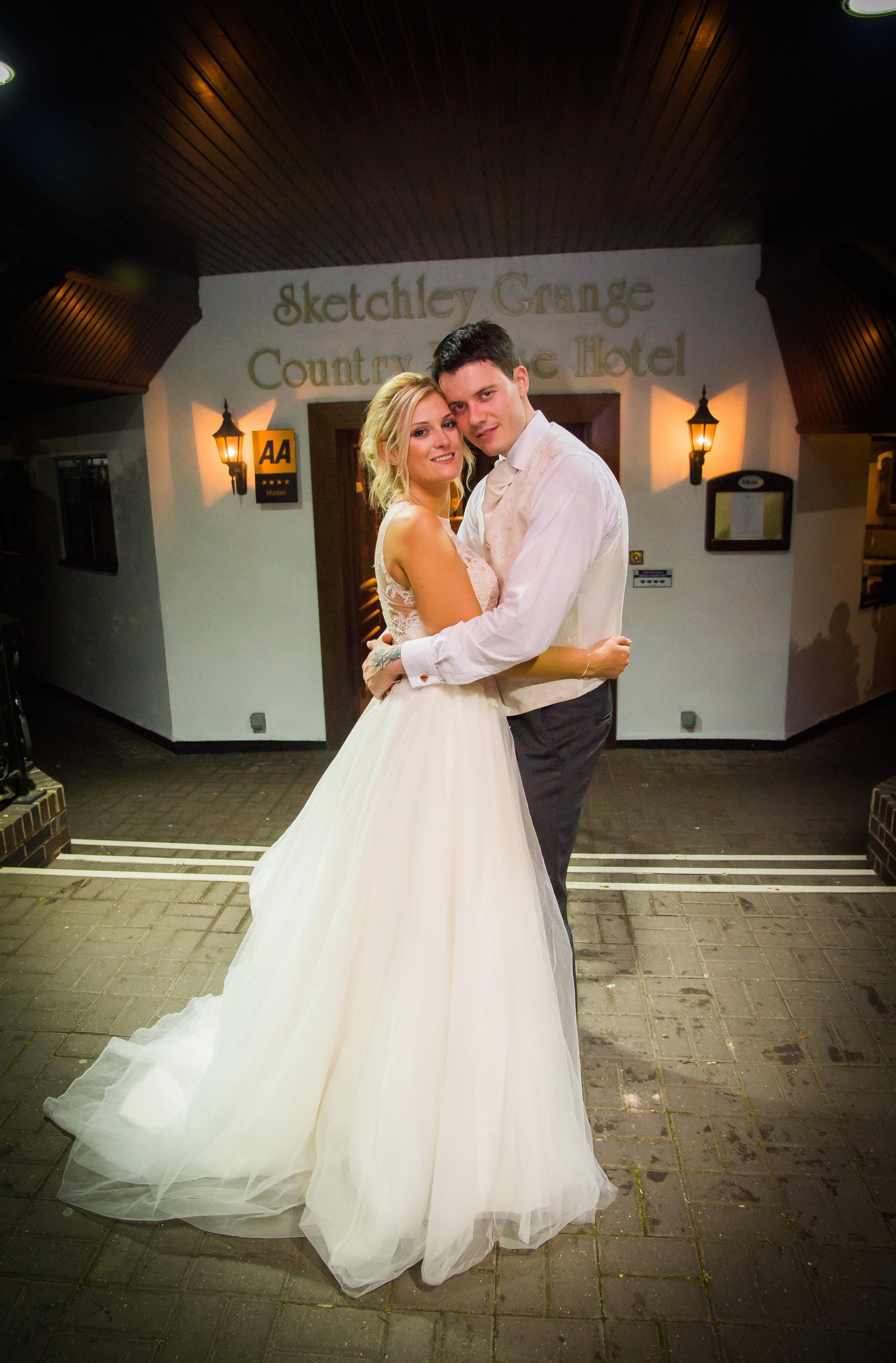 Bride and Groom night ambrace Sketchley Grange Hinckley Leicestershire