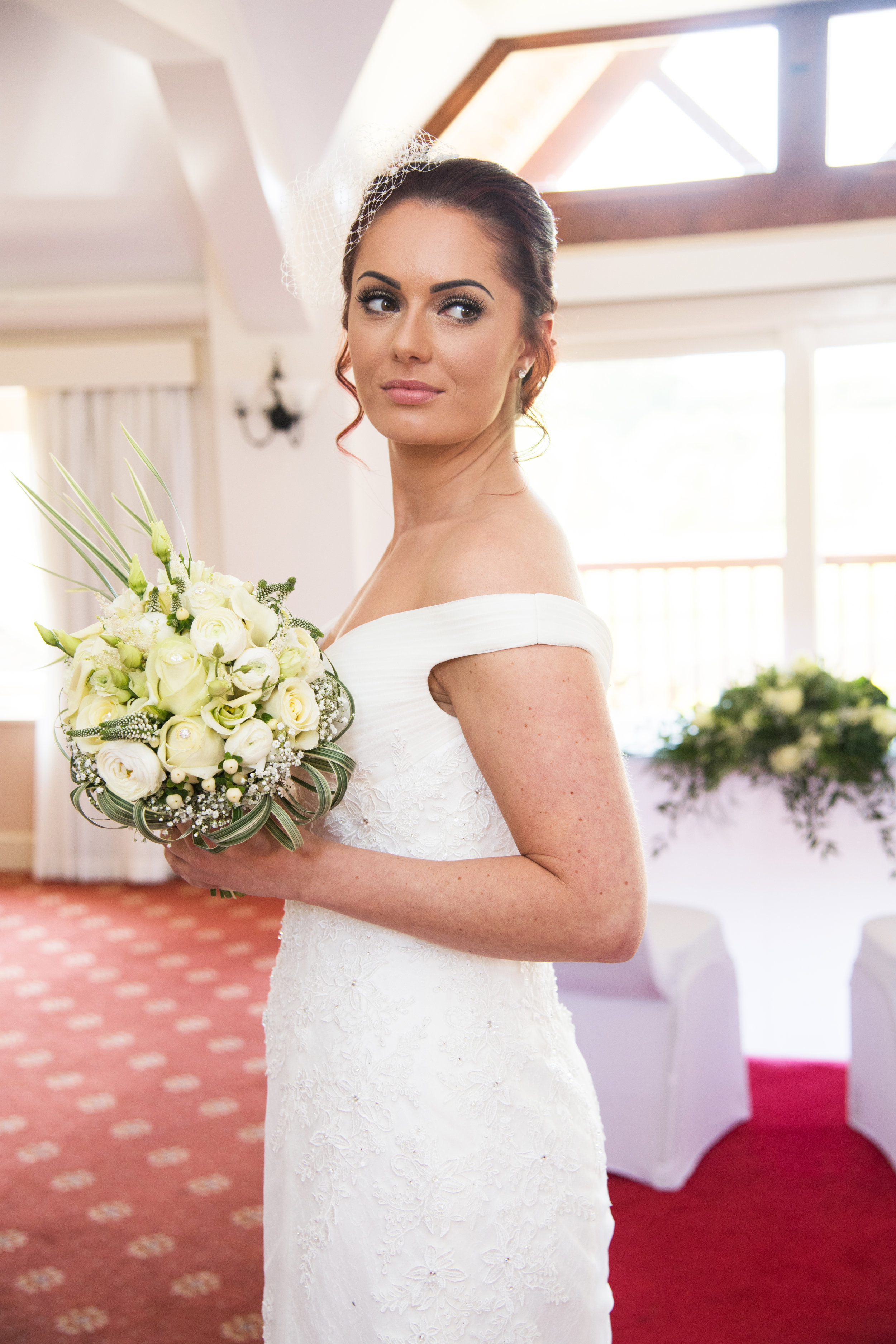 Bride in Ceremony room Henley Golf and Country Club